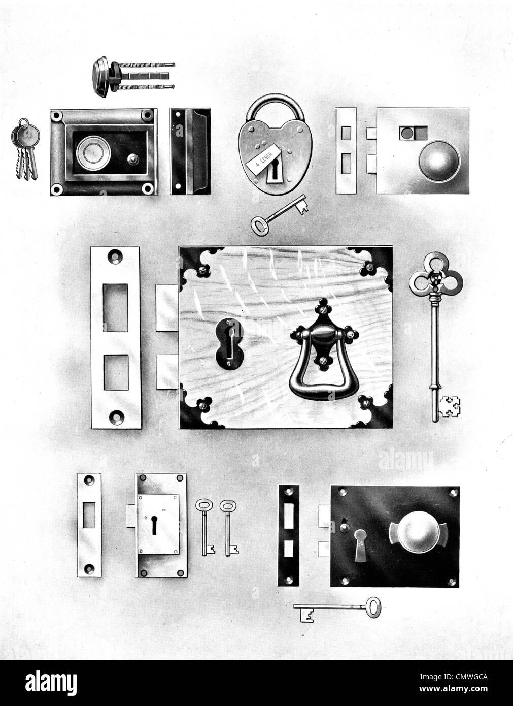 1905 lock key door furniture - Stock Image