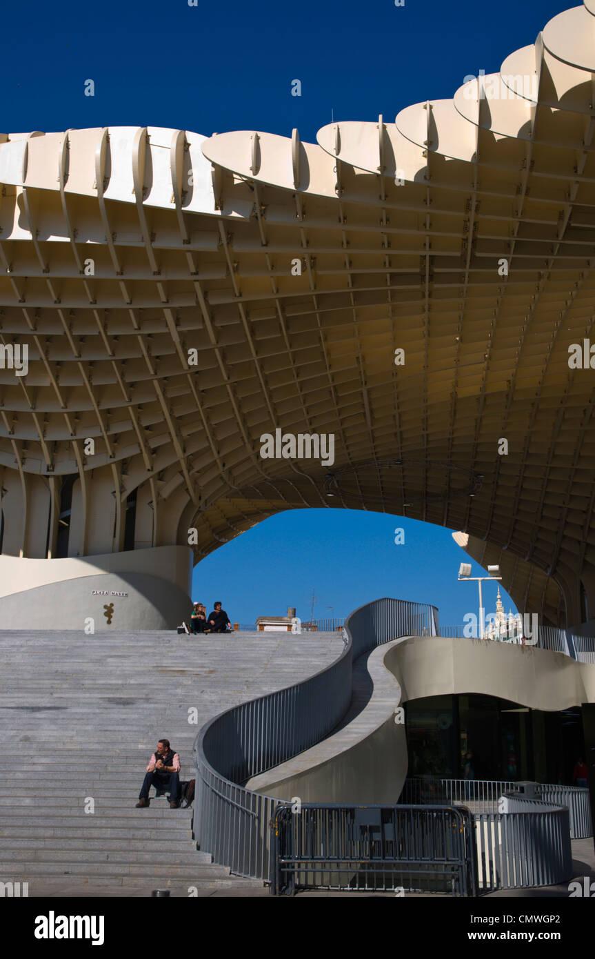 Metropol Parasol (2011) wooden structure by Jürgen Mayer-Hermann at Plaza de la Encarnacion square Seville - Stock Image