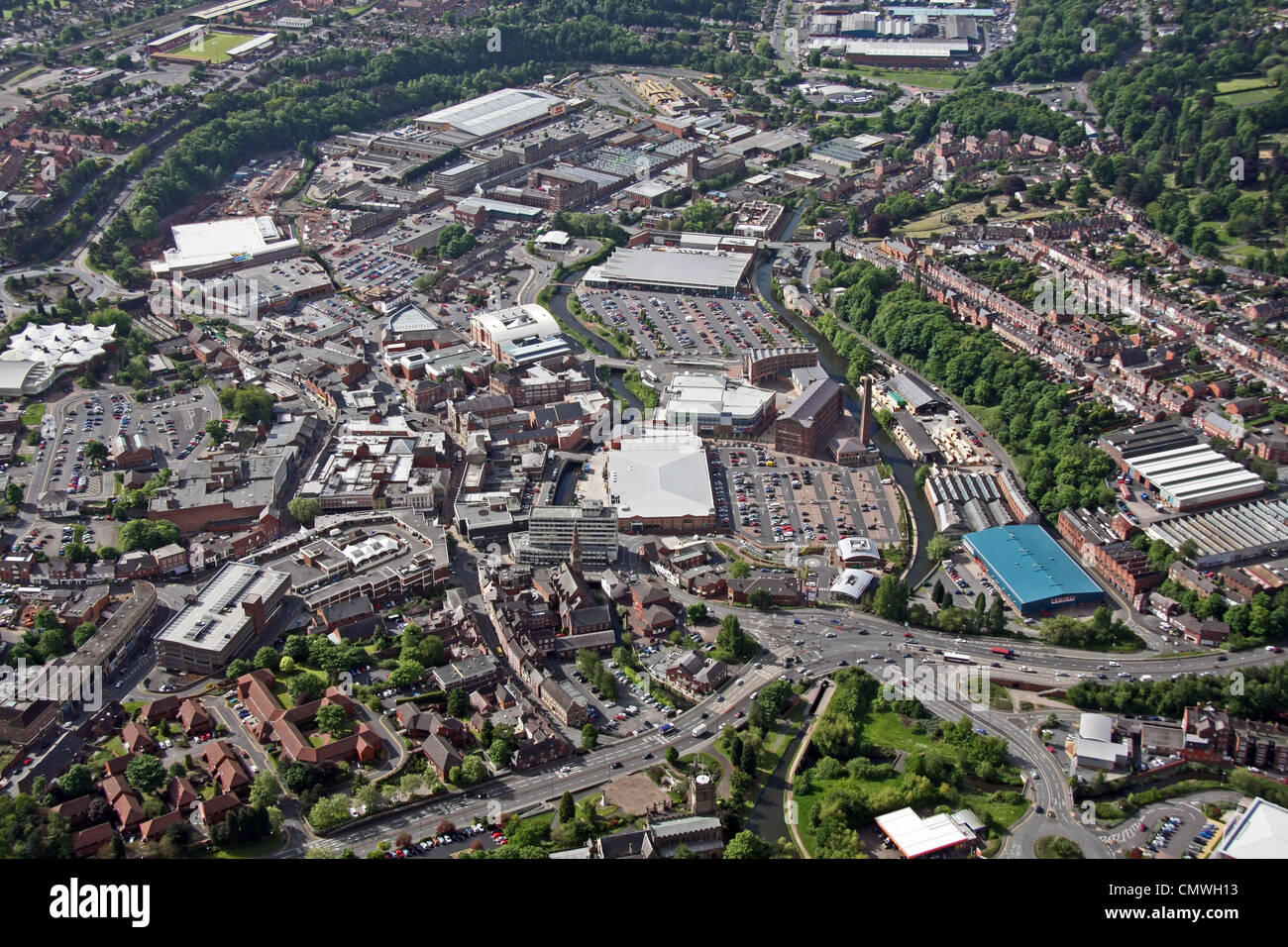 aerial view of Kidderminster town - Stock Image