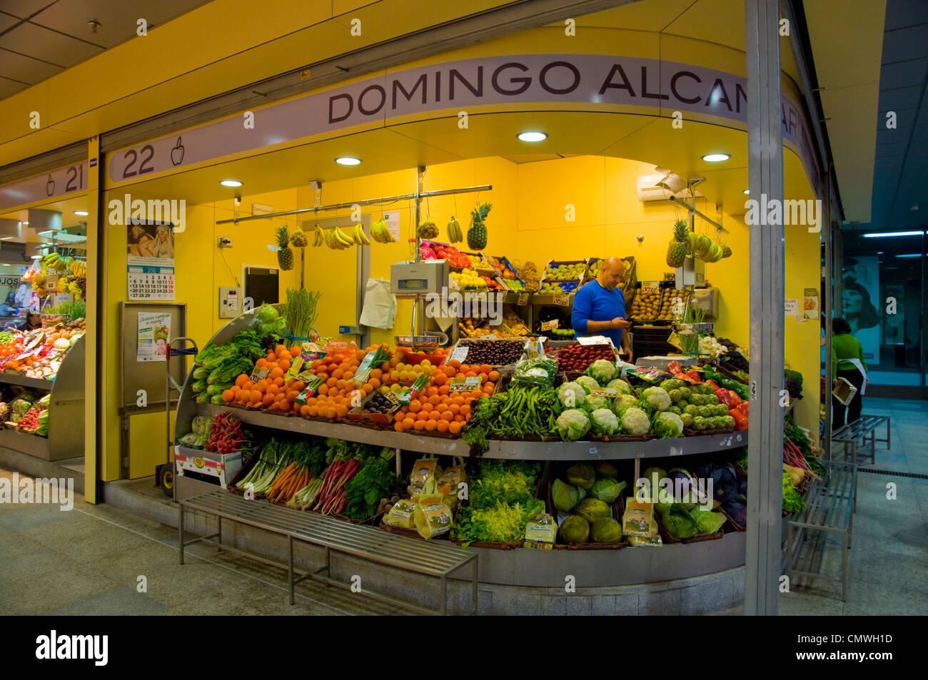 Fresh produce Nueva Mercado de la Encarrnacion market in Metropol Parasol complex Seville Andalusia Spain - Stock Image