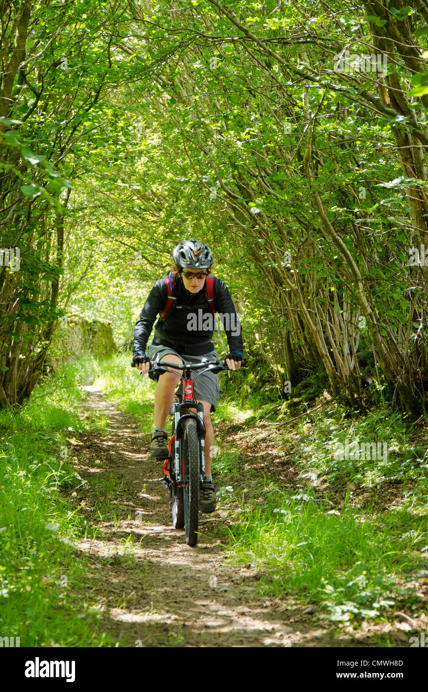 Female mountain biker on a track on Blawith Fells in the southern Lake District Stock Photo