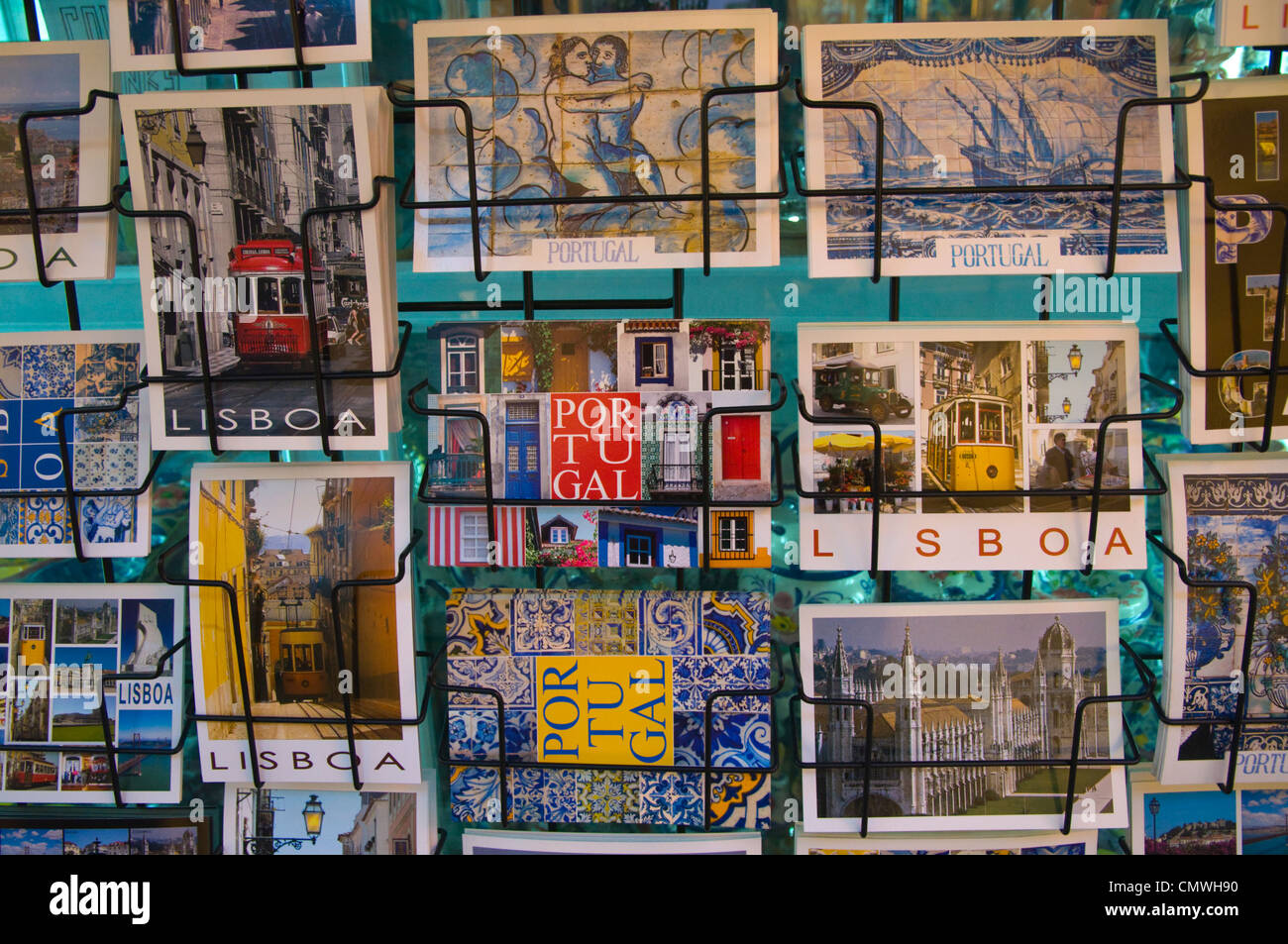 Postcards in front of a shop Alfama district Lisbon Portugal Europe - Stock Image