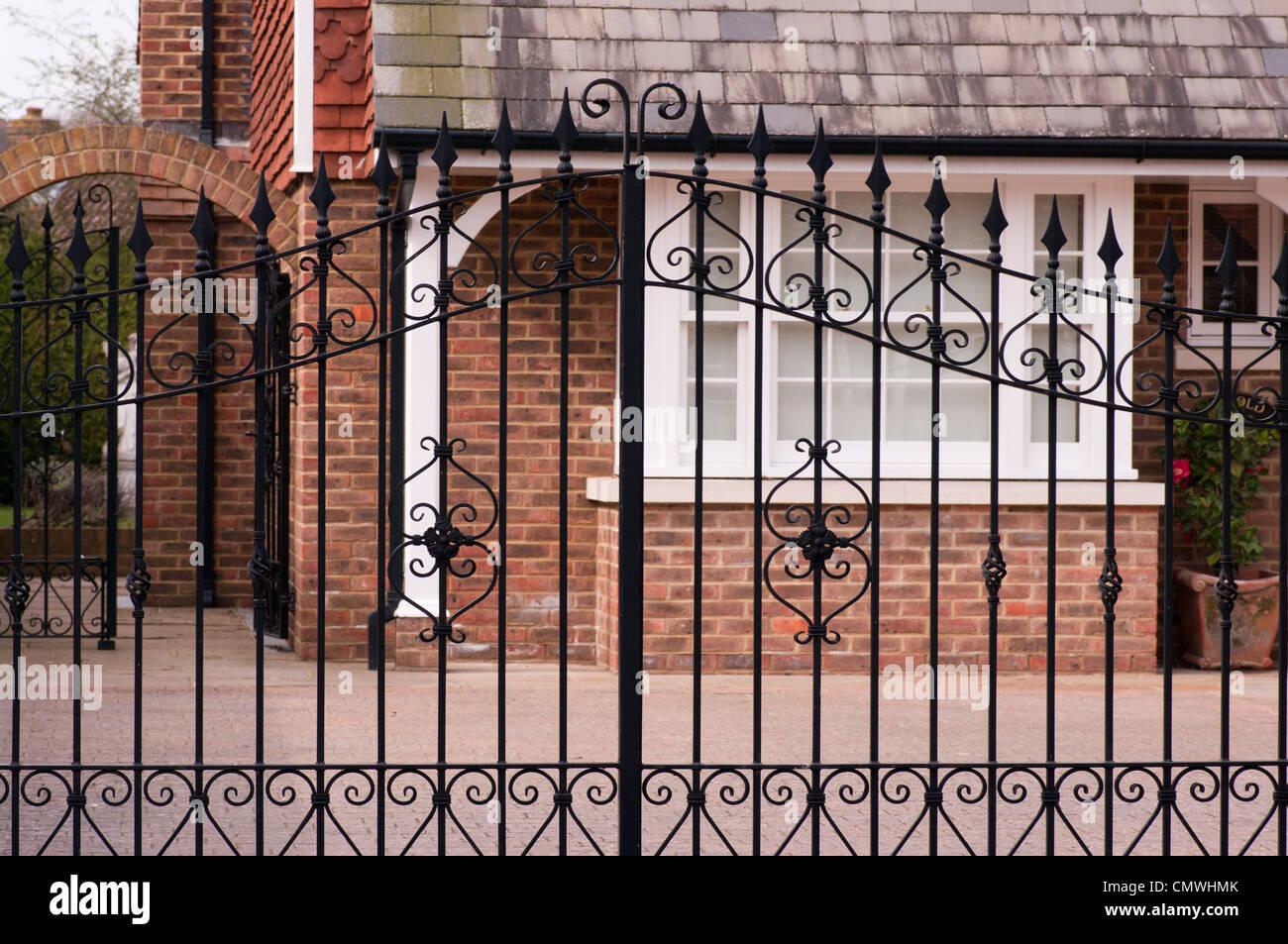 Wrought Iron Metal Driveway Gates Stock Photo: 47276563 - Alamy