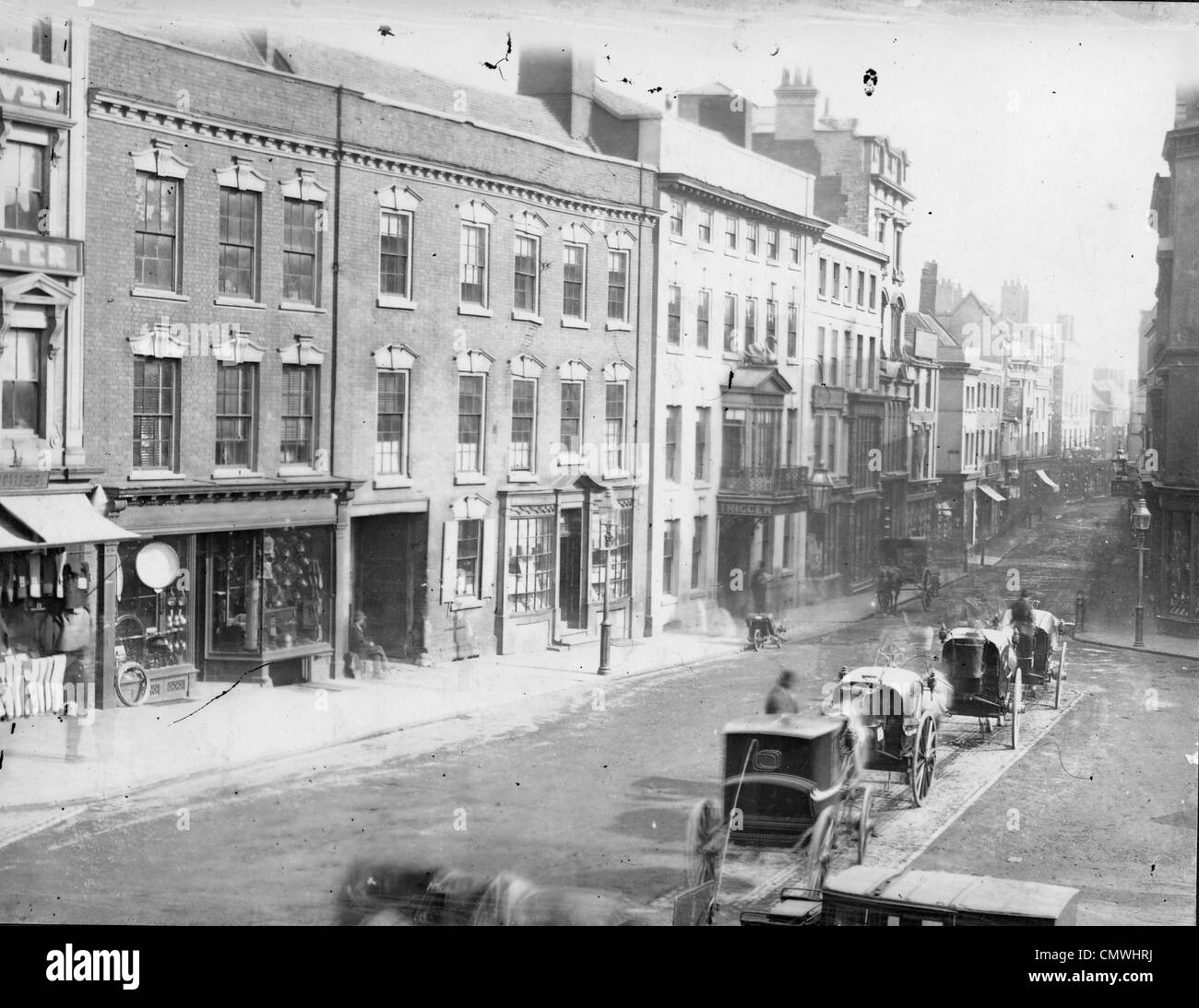 Queen Square, Wolverhampton, circa 1860s. High Green looking up High Street and Dudley Street. The image clearly - Stock Image