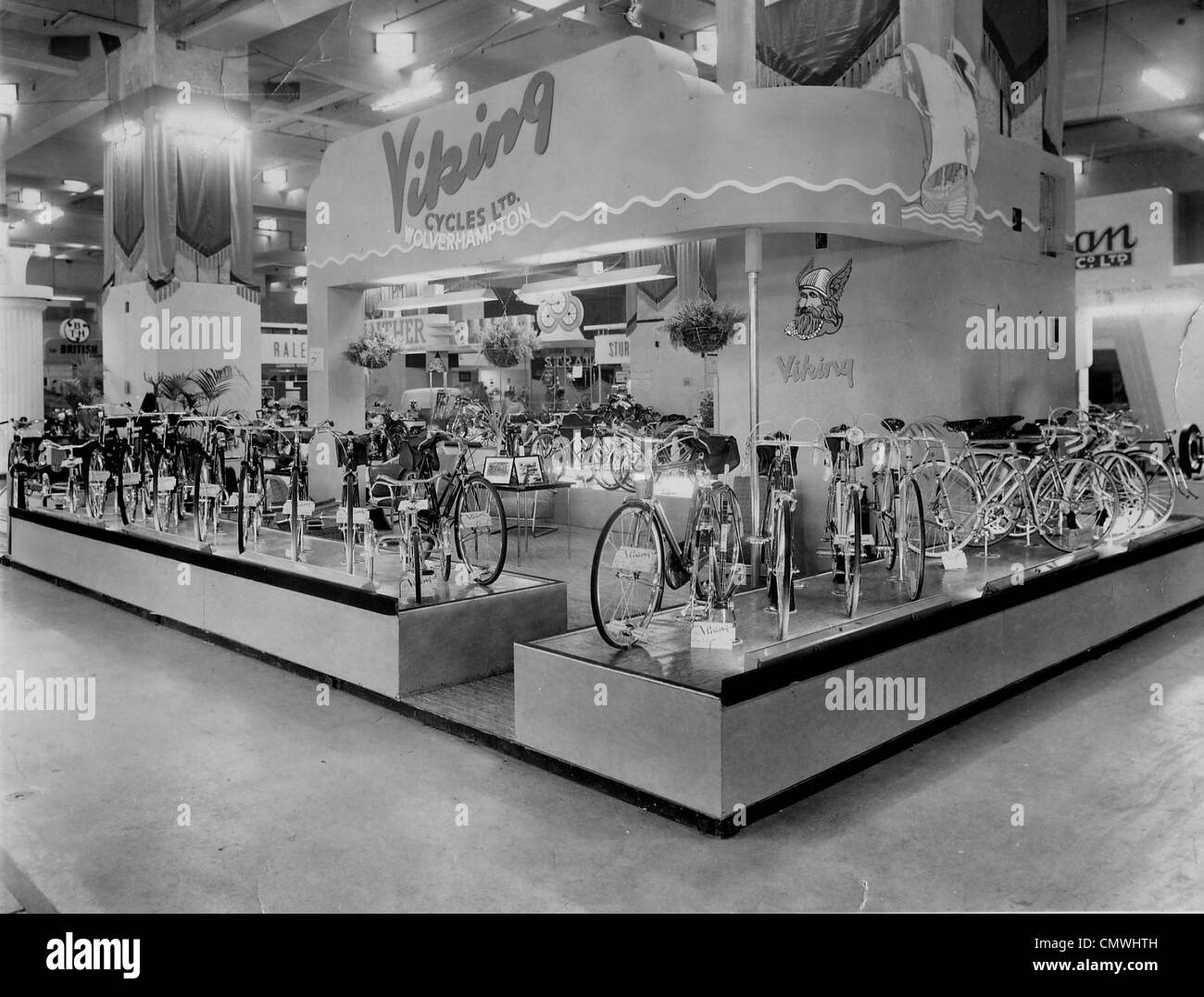 Exhibition, Viking Cycles Ltd., London, circa 1950s. A display stand of Viking bicycles at an exhibition in Earls - Stock Image