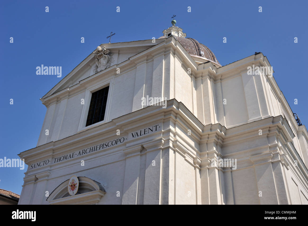 italy, lazio, castel gandolfo, piazza della libertà, church of san tommaso - Stock Image