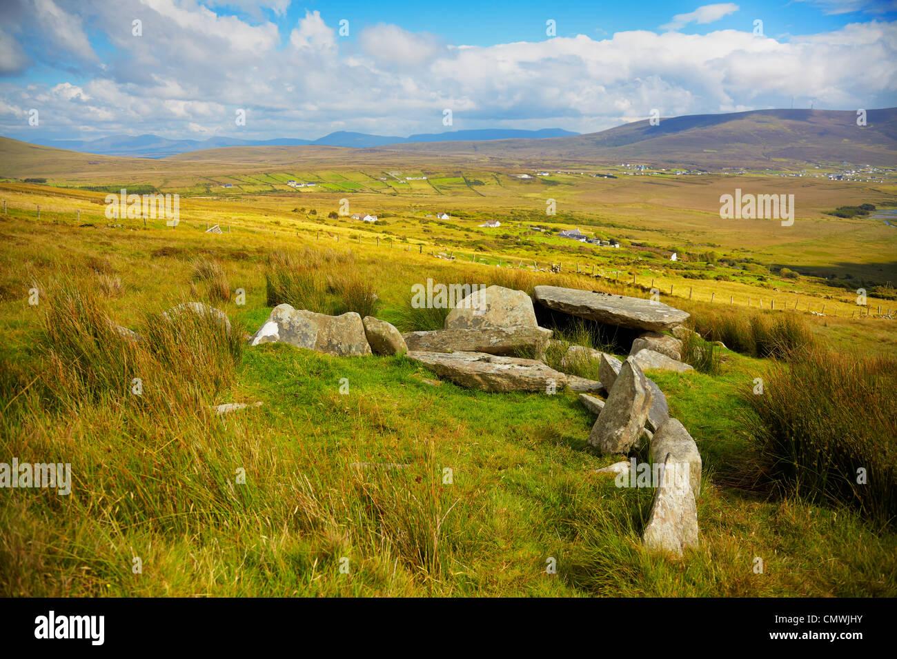 Slievemore dolmen in summer season on Achill Island, Ireland. Stock Photo