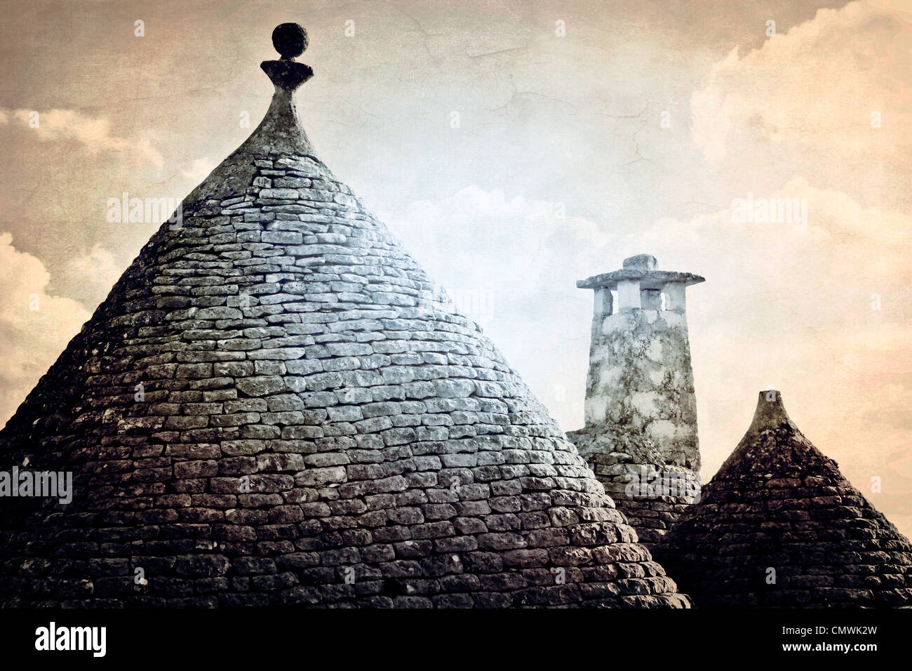Roofs of the trulli - the typical houses in Apulia - Stock Image