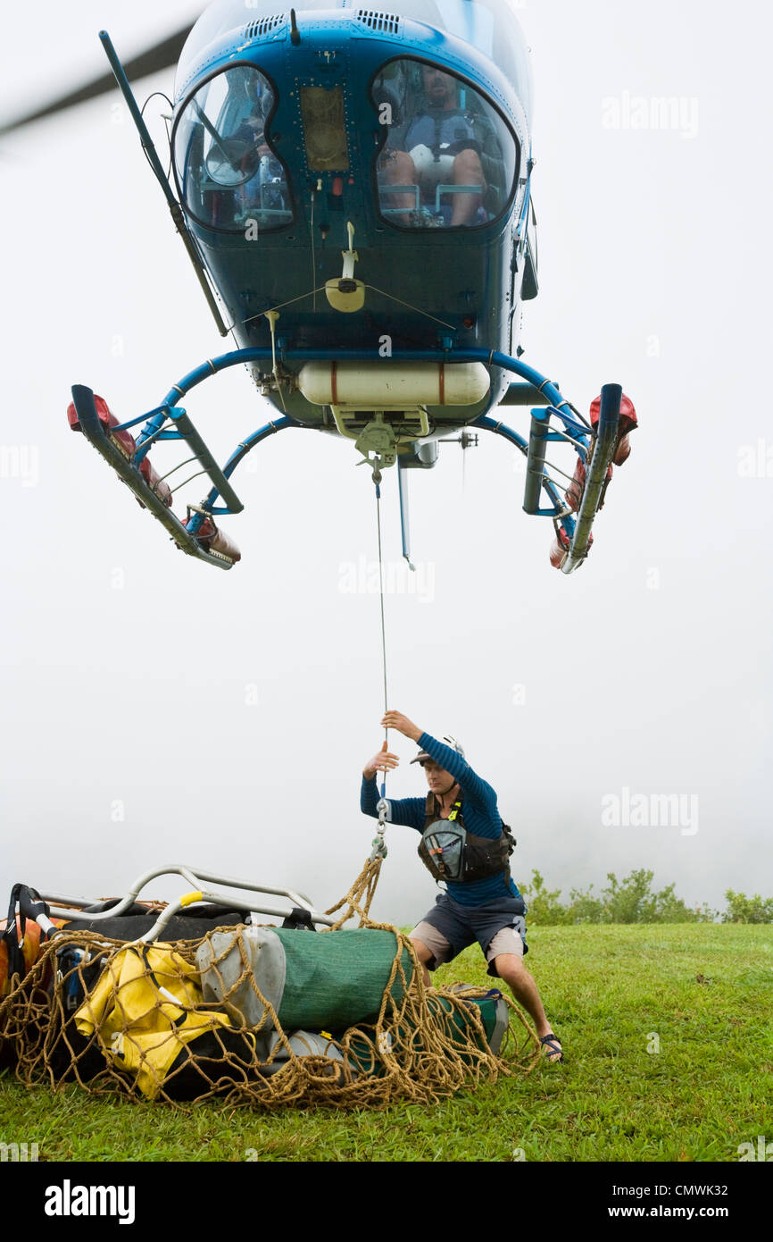 Helicopter lifting equipment for a heli-rafting adventure on the North Johnstone River, Queensland, Australia - Stock Image