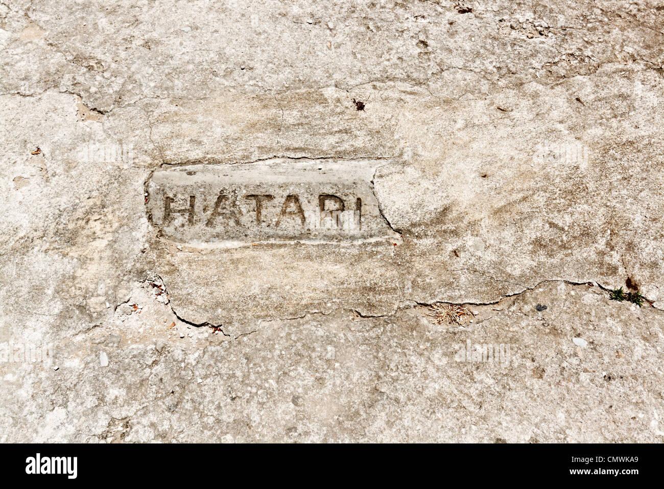 Hatari eingemeißelt in Mauerwerk Stock Photo