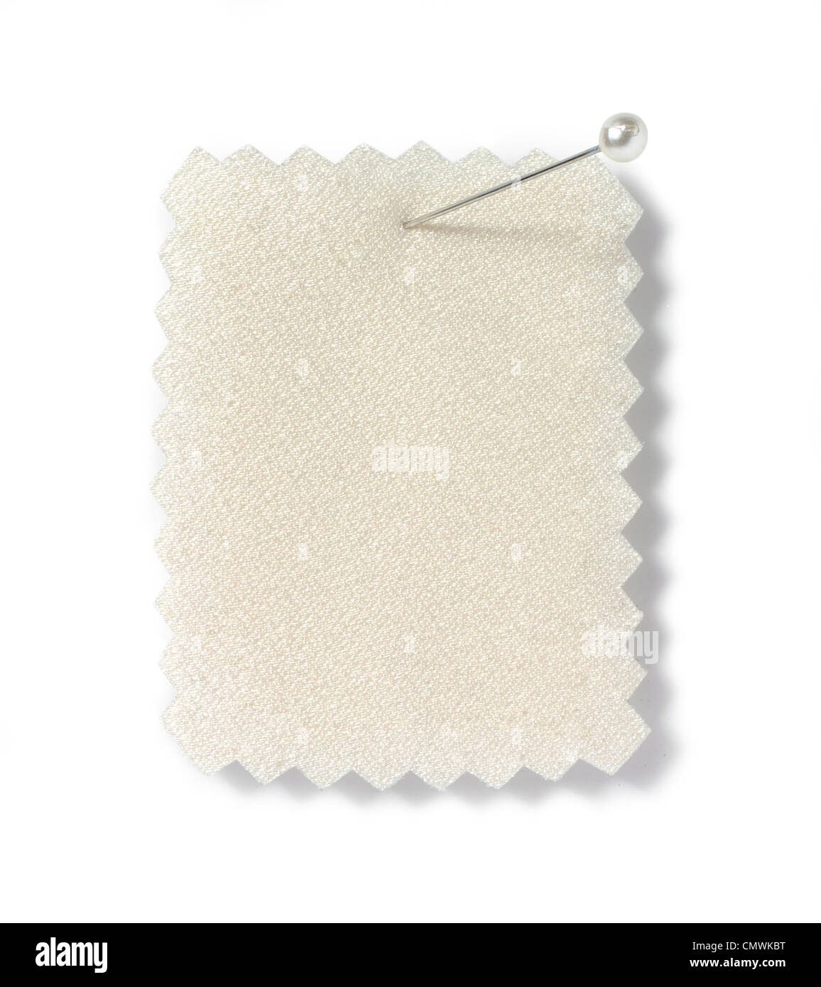pinned cloth sample cut out white background - Stock Image
