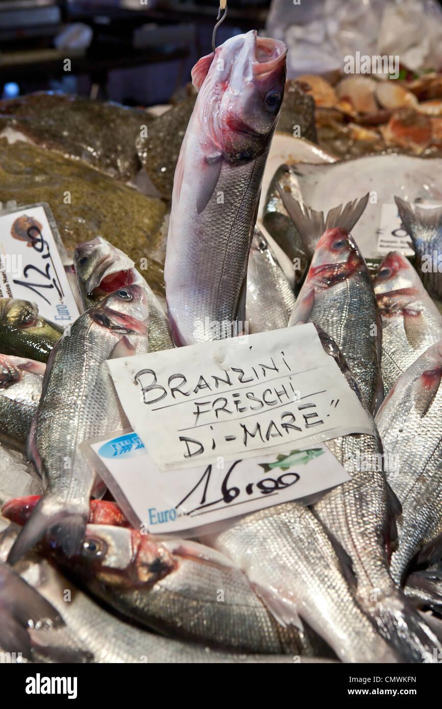 Fish Market, Rialto, Venice, Veneto, Italy - Stock Image