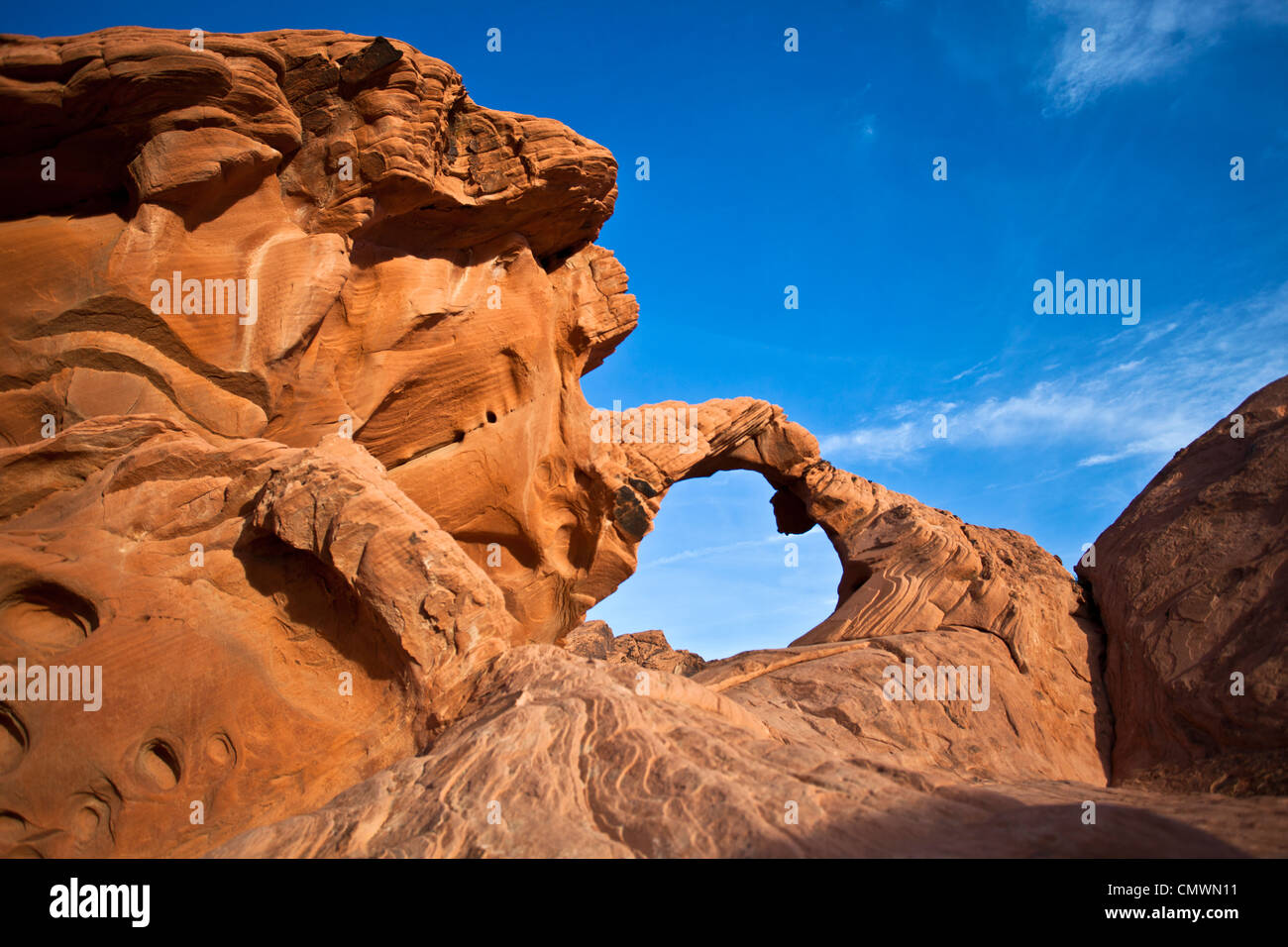 Sandstone Rock formations in Nevada's Valley of Fire - Stock Image