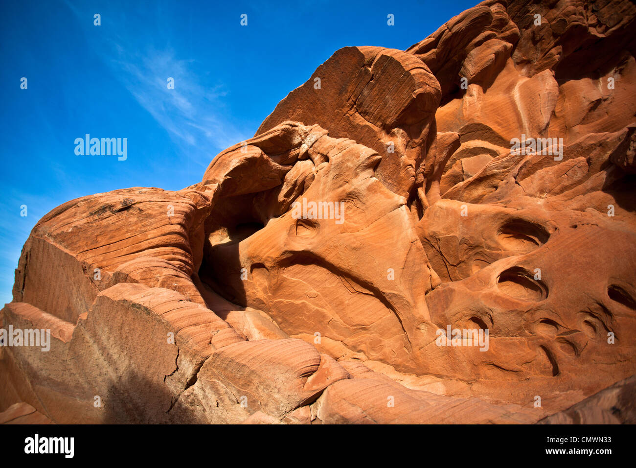 Sandstone rock formations in Nevada's Valley of Fire State Park - Stock Image