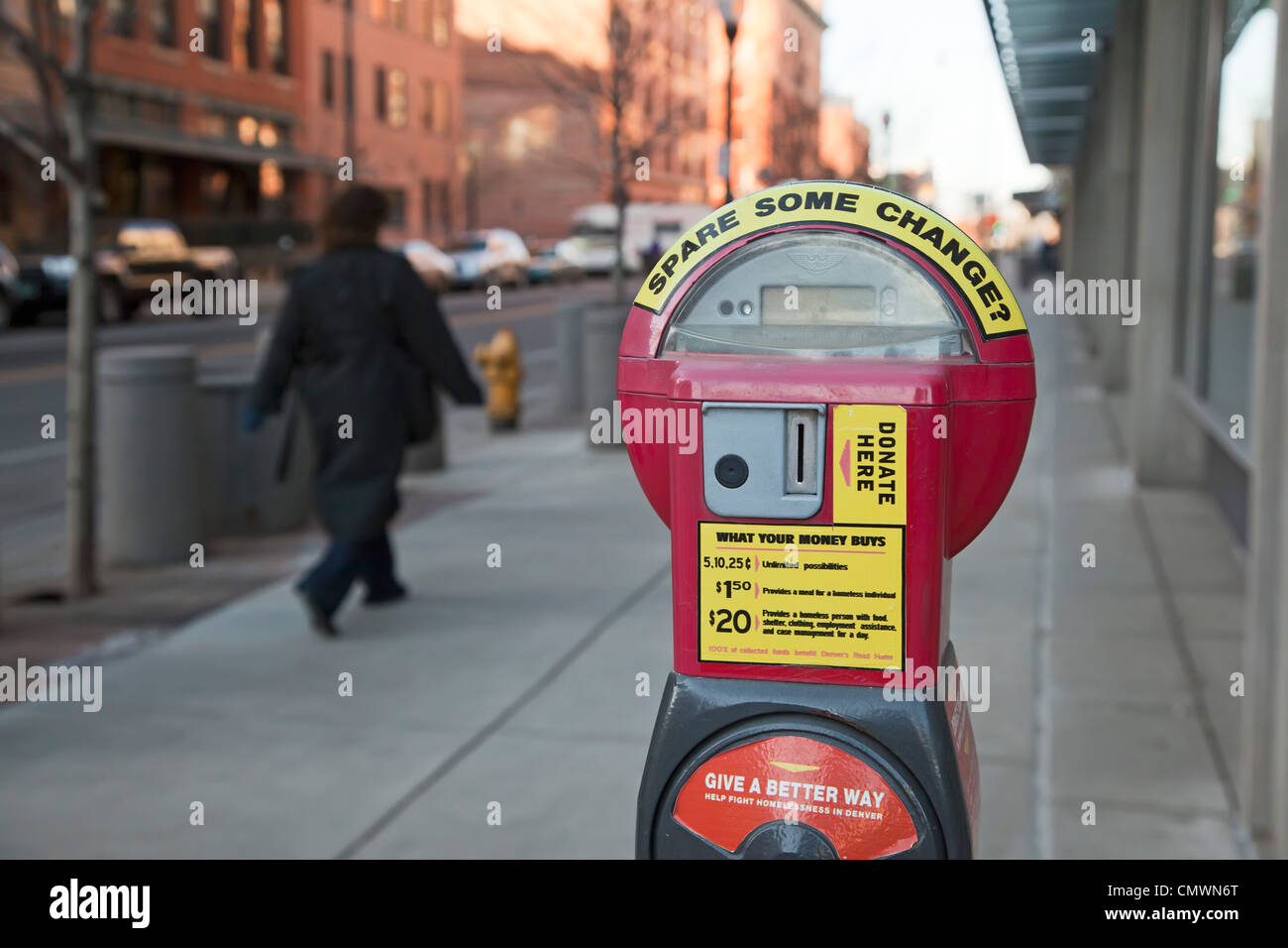 Parking Meter Converted to Collect Spare Change to Help the Homeless - Stock Image