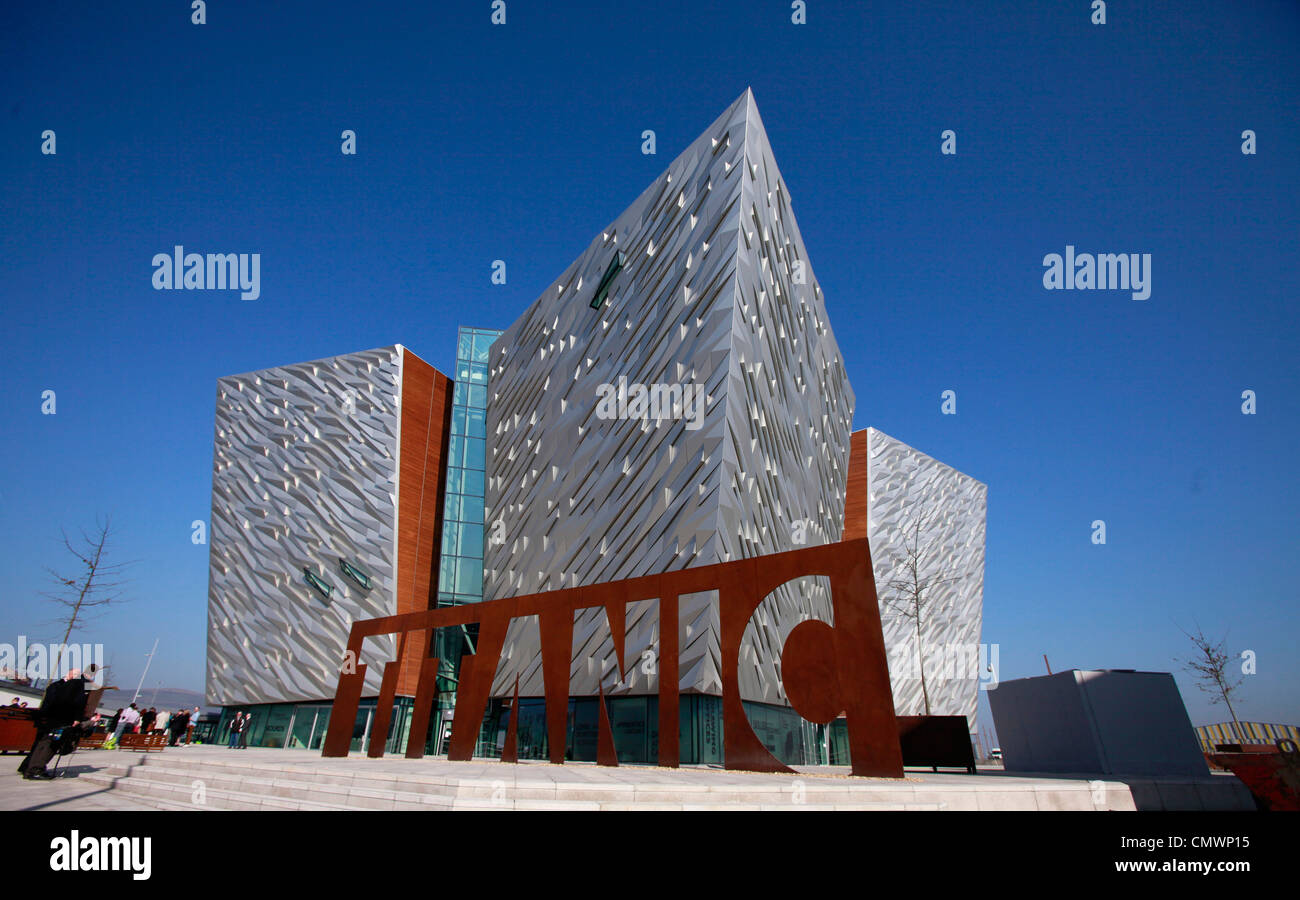 A giant steel name plate marks the entrance to the Titanic Belfast visitors centre in Belfast, Northern Ireland. - Stock Image