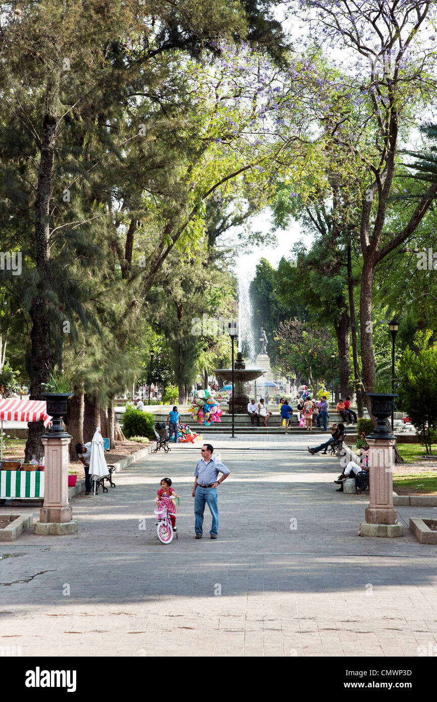 axial view of Juarez Llano park filled with people looking toward fountain on a beautiful sunny spring Sunday Oaxaca - Stock Image