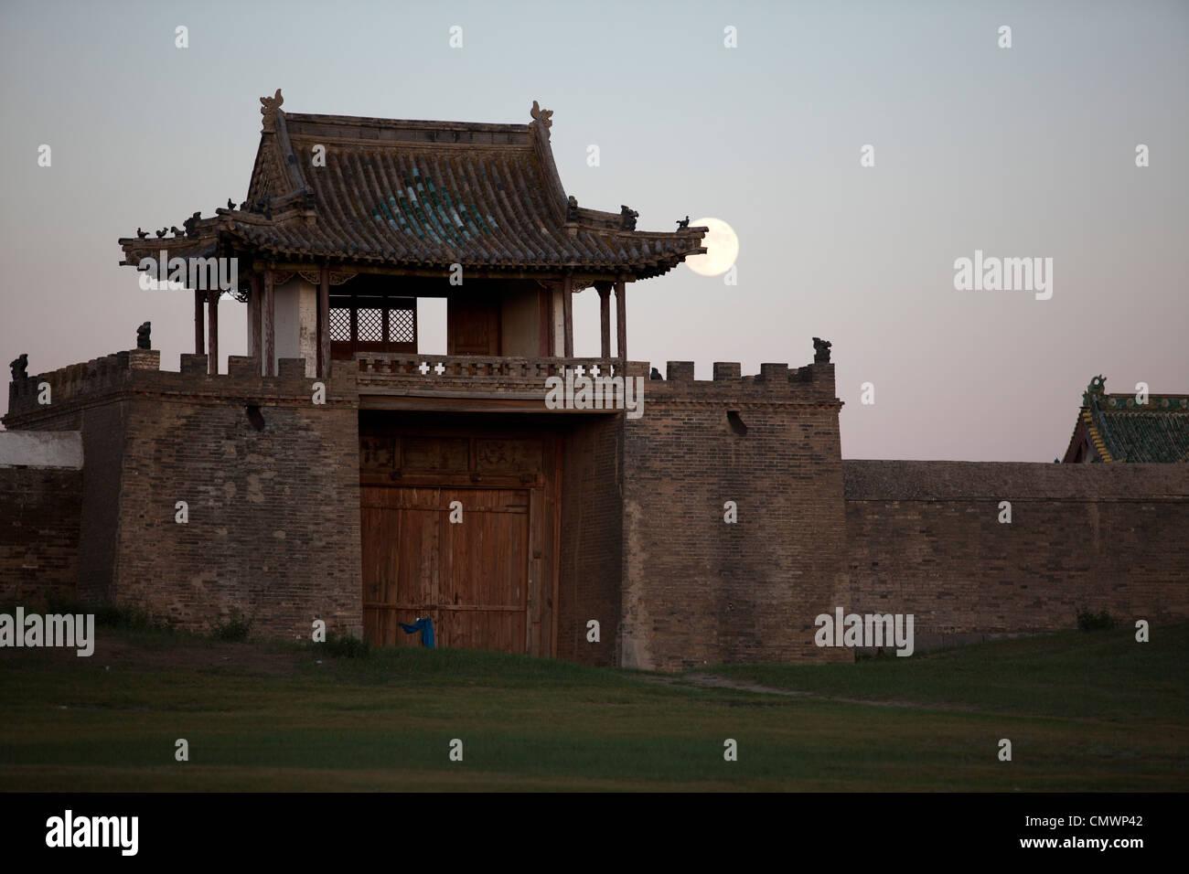 Erdene Zuu monastery with moon rise , Karakorum, Mongolia - Stock Image