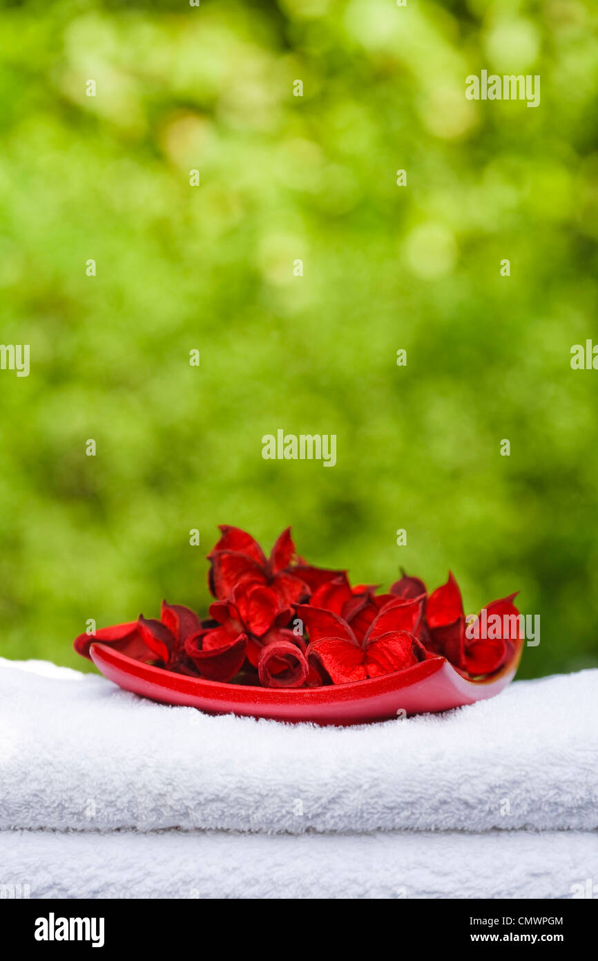 Stack of fresh white towels with pot pourri in a garden setting with copyspace, ideal for depicting a day spa - Stock Image