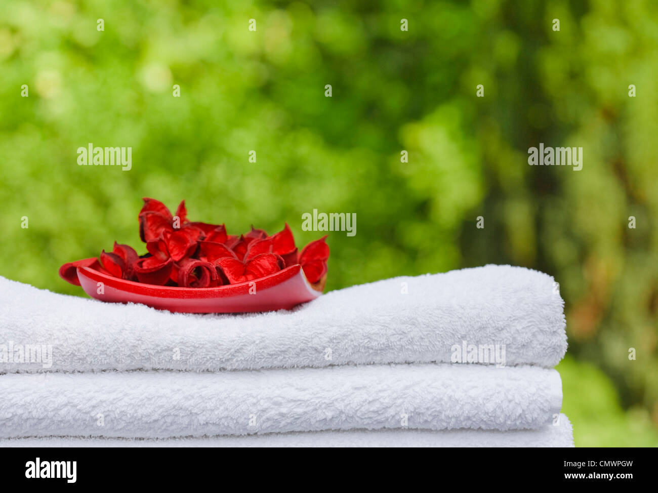 Pile of fresh white towels and rose petals with greenery in the background, ideal for depicting leisure or a spa - Stock Image