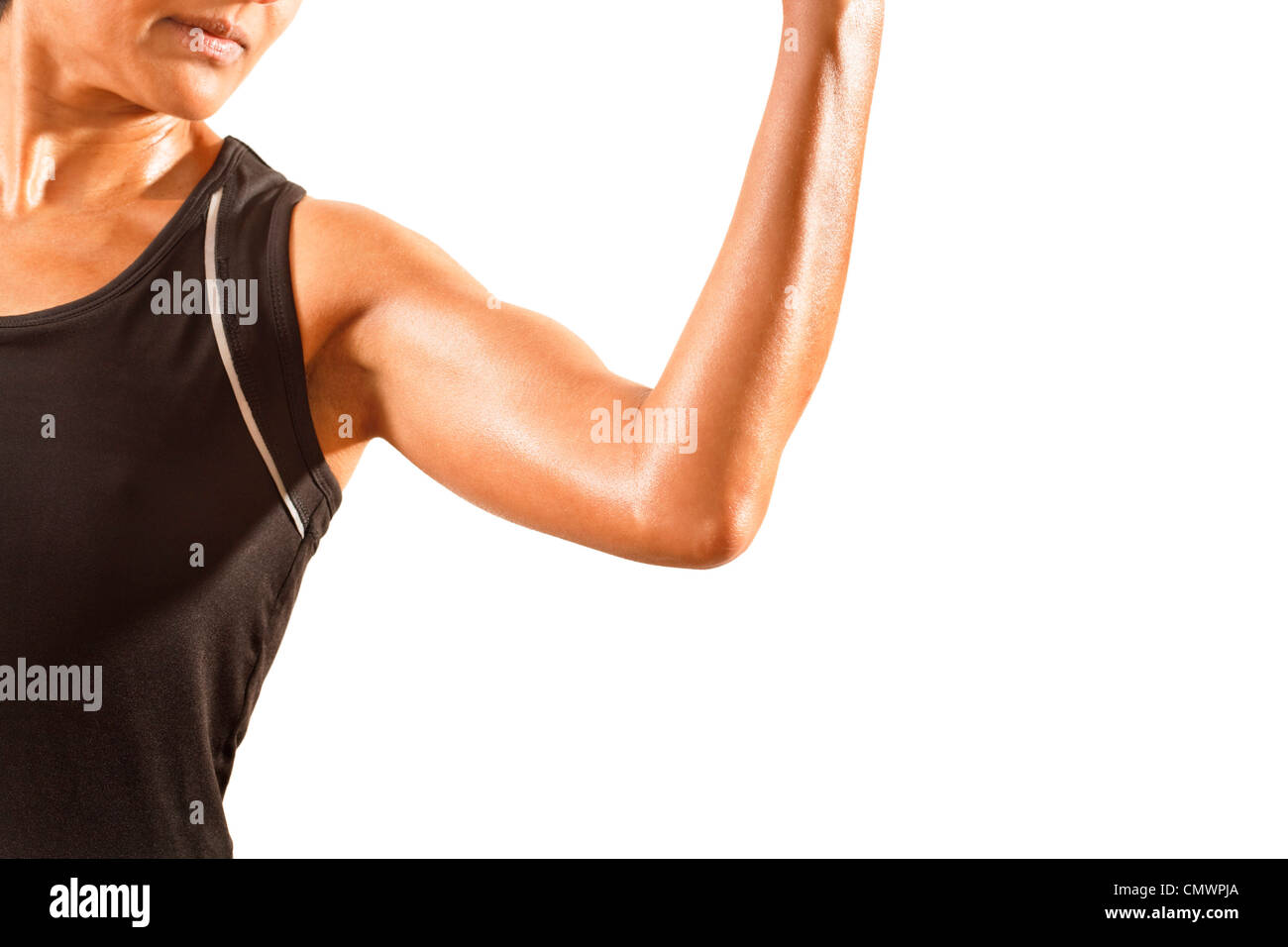 4b7e2131fb36d Athletic asian woman wearing lycra. Isolated against a white background  with space for copy.