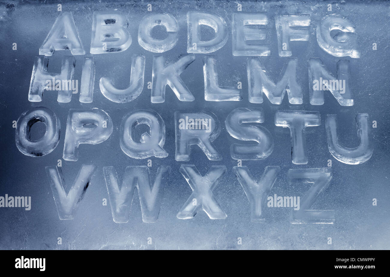 Alphabet made of real ice letters. - Stock Image