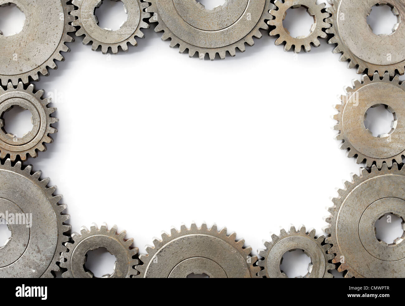 Background image with a frame made of old cog gear wheels. - Stock Image