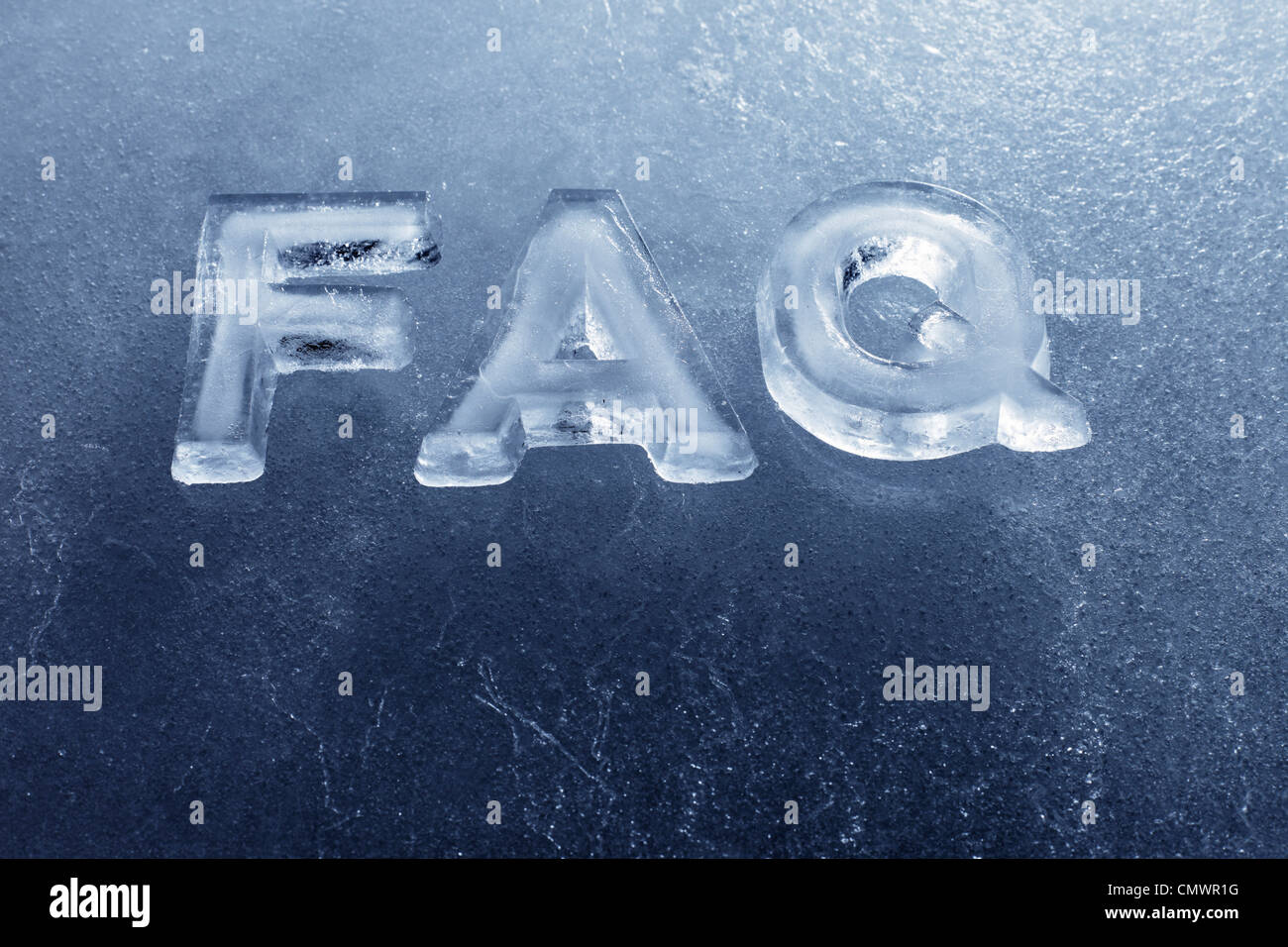 Abbreviation FAQ (Frequently Asked Questions) made of real ice letters. - Stock Image
