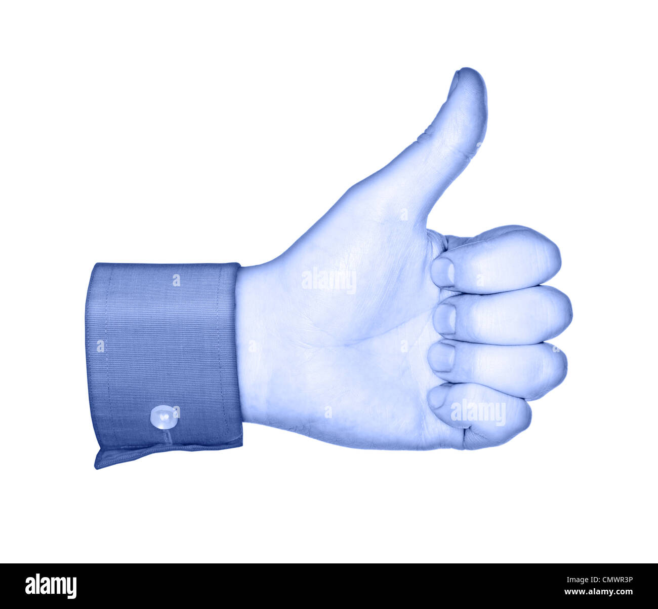 Conceptual image of a blue hand, similar to social media 'Like' buttons. - Stock Image