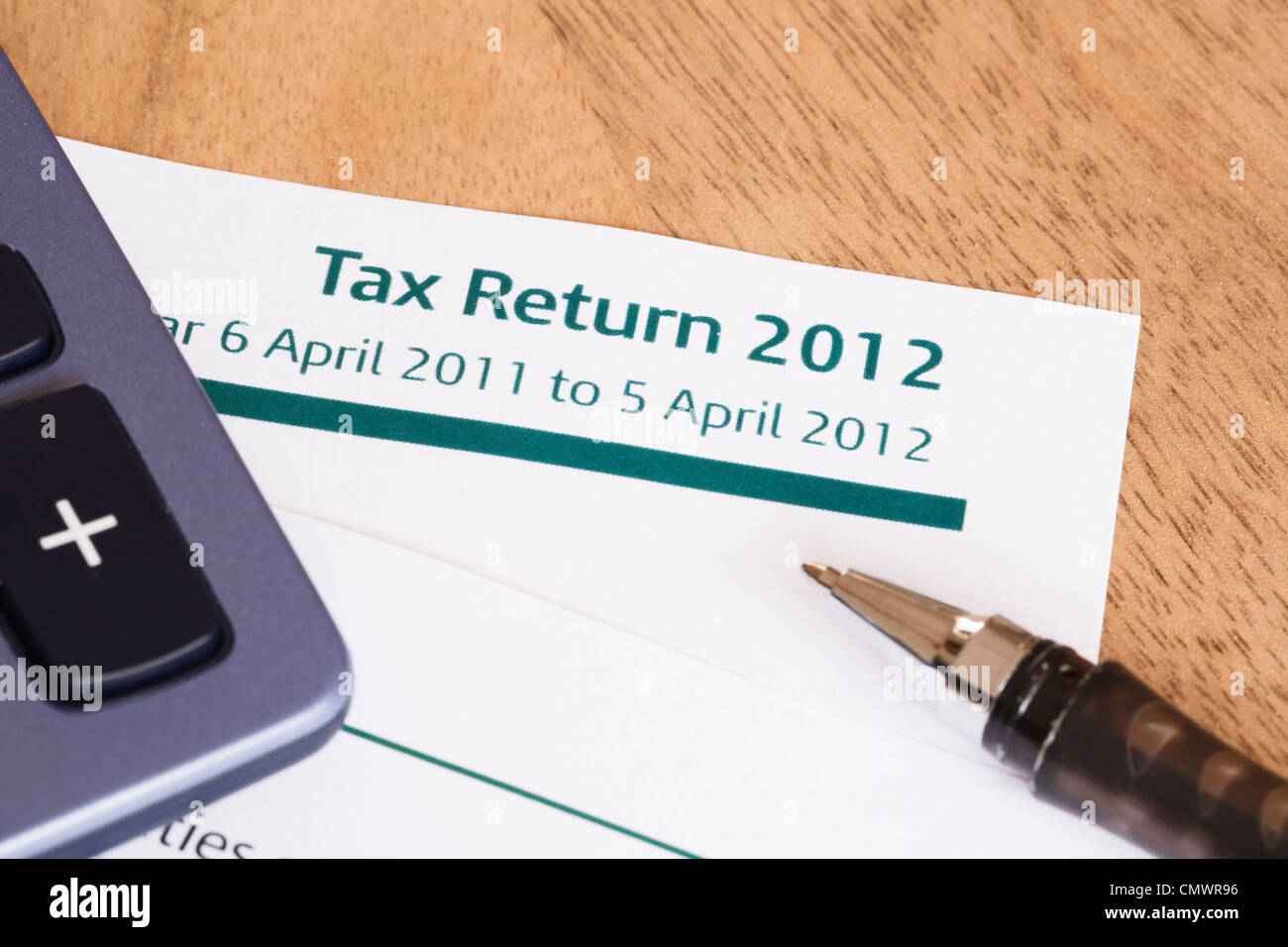 Closeup of UK Income tax return form with tax period for 2012 - Stock Image