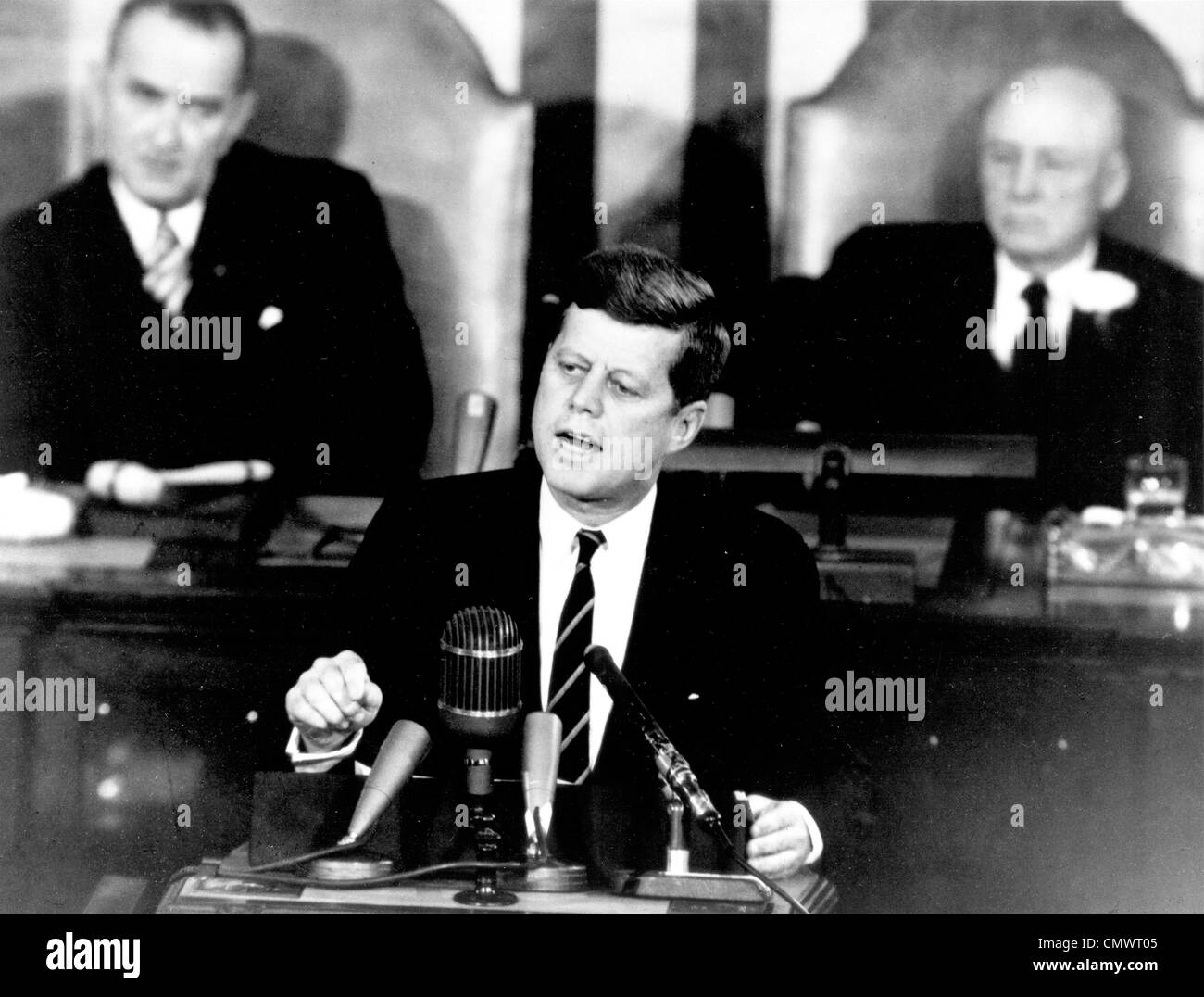 PRESIDENT JOHN F KENNEDY announces the Apollo space programme befor a joint session of Congress on 25 May 1961 - Stock Image