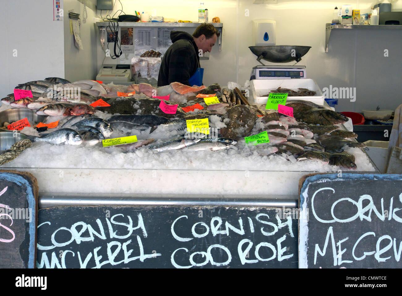united kingdom west sussex littlehampton riverside fish shop a wet fish display - Stock Image