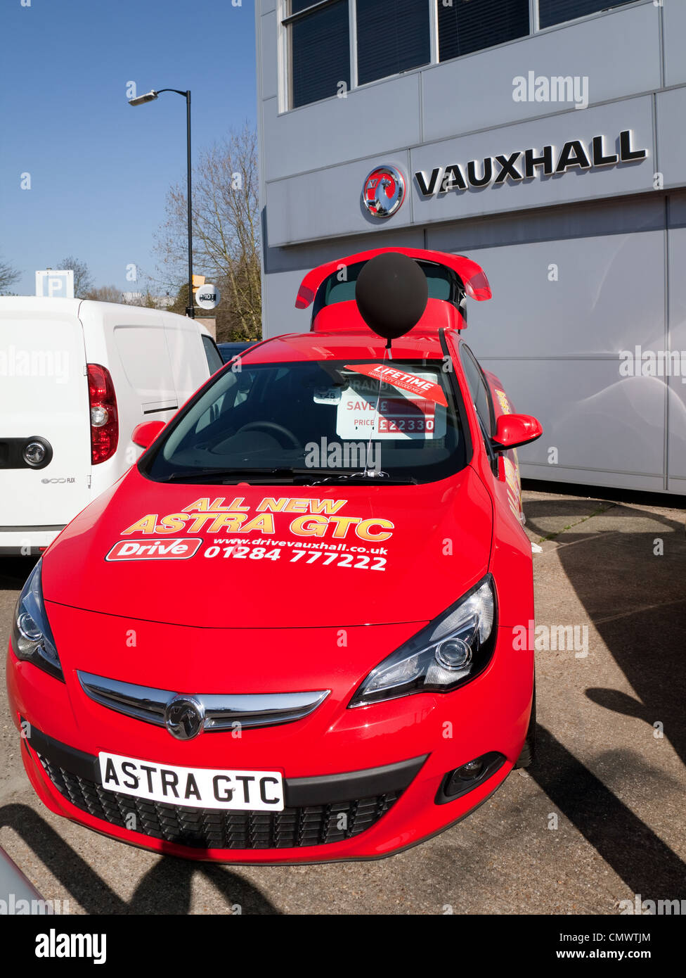 New Vauxhall car for sale in a dealership, Bury St Edmunds Suffolk UK - Stock Image