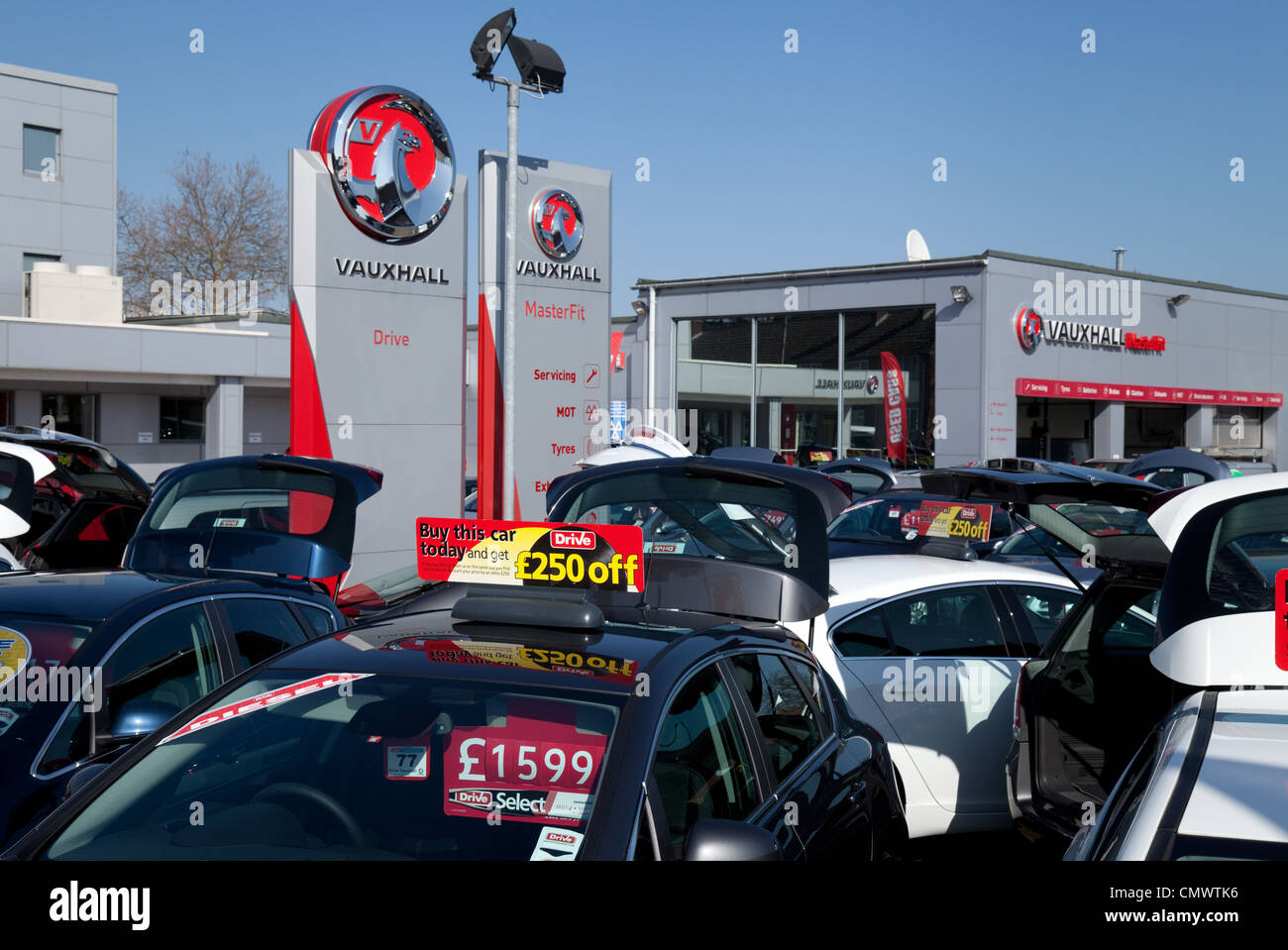 New cars for sale at a Vauxhall dealership, Bury St Edmunds Suffolk UK - Stock Image