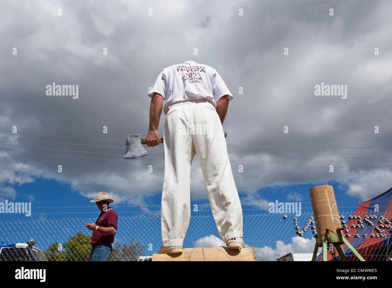 Wood chopper standing on his block. Mt Garnet Rodeo, Mt Garnet, Queensland, Australia - Stock Image