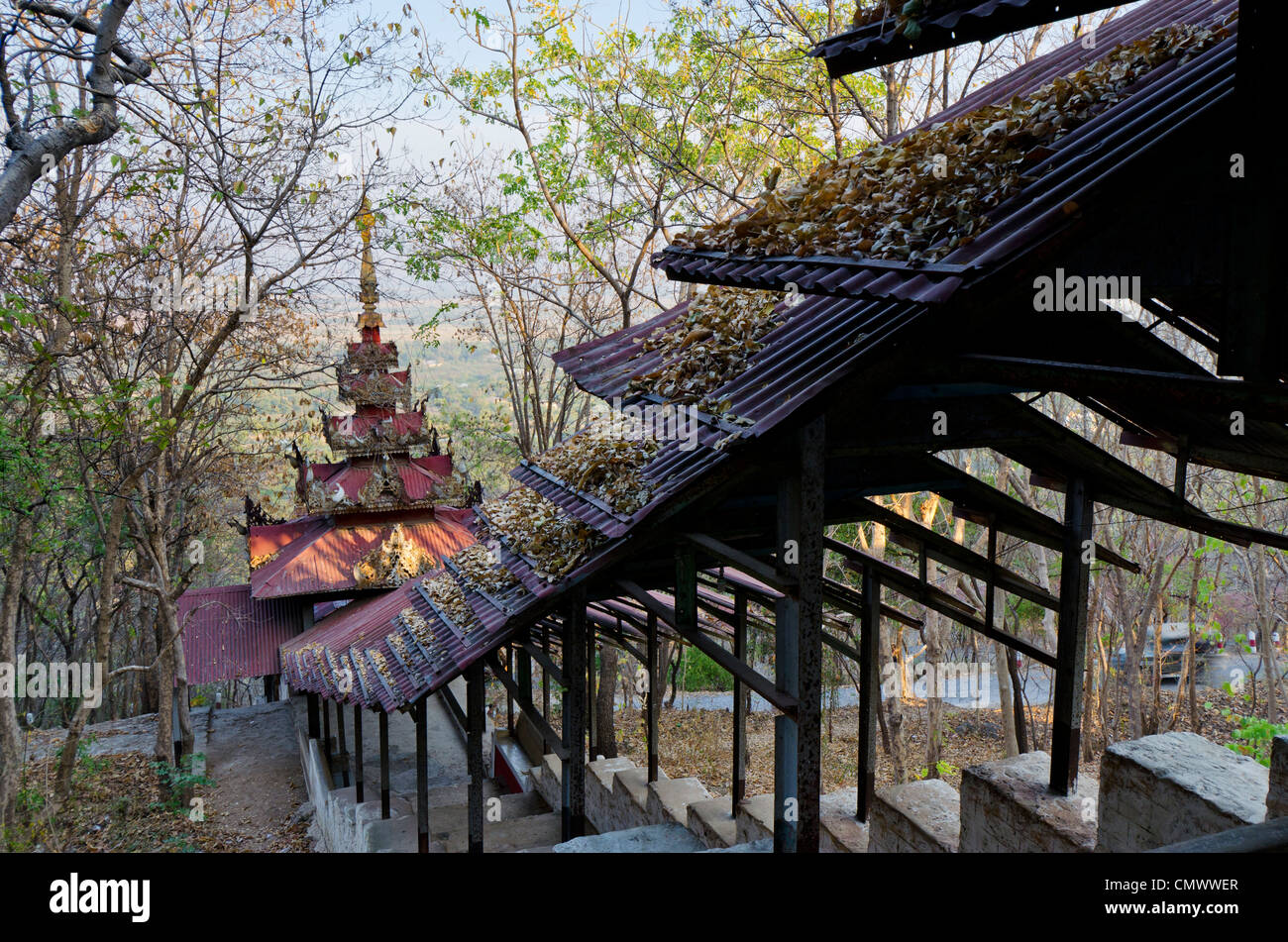 Corrugated metal roved temple leading up Mandalay Hill, Mandalay, Myanmar - Stock Image