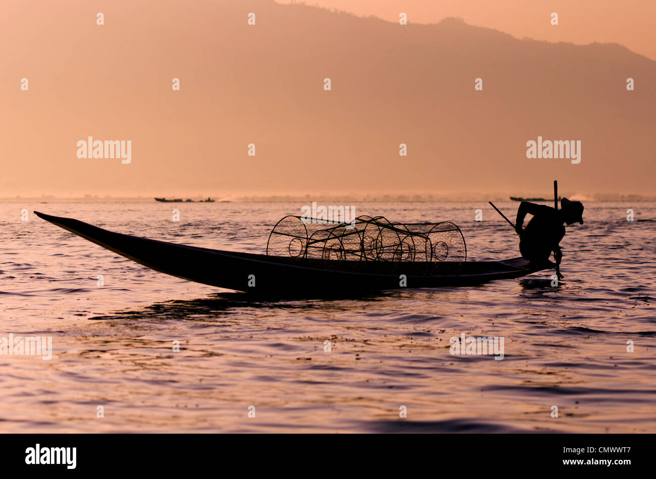 Traditional bamboo fisherman, Inle lake, Myanmar - Stock Image