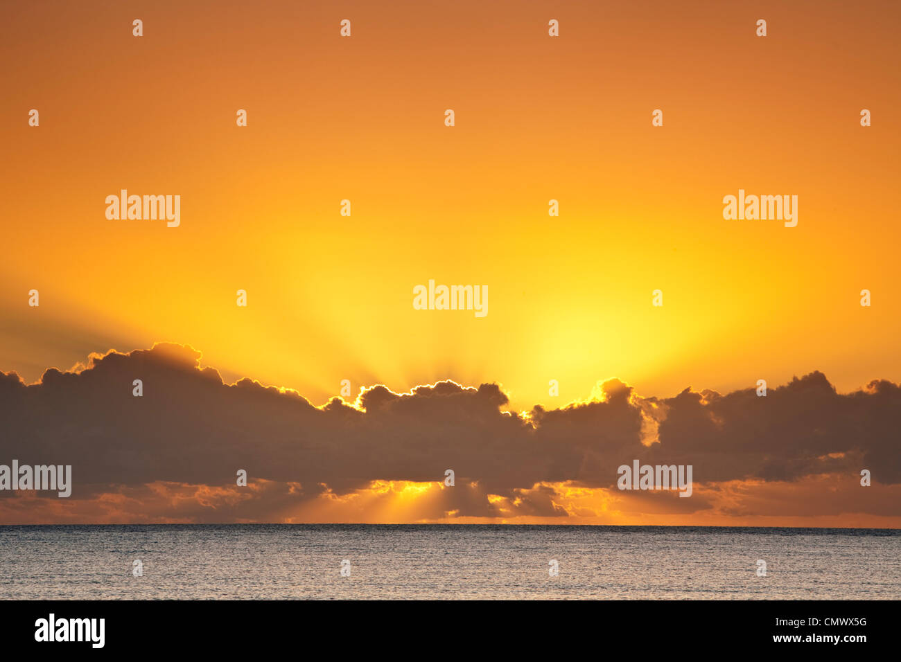 Sunrise over the Coral Sea. Kewarra Beach, Cairns, Queensland, Australia - Stock Image