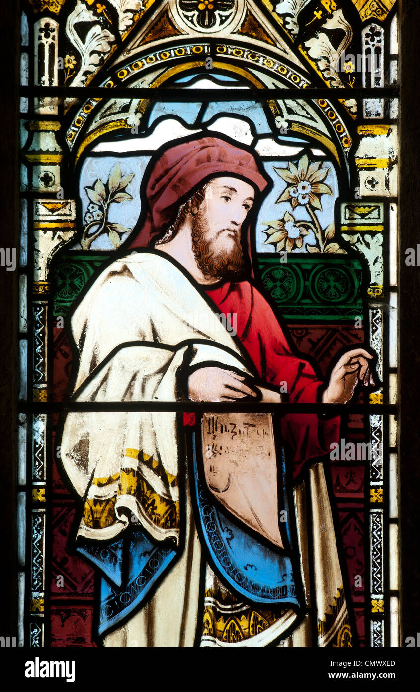 Hosea stained glass, St. Peter and St Paul Church Swalcliffe Oxfordshire England UK - Stock Image
