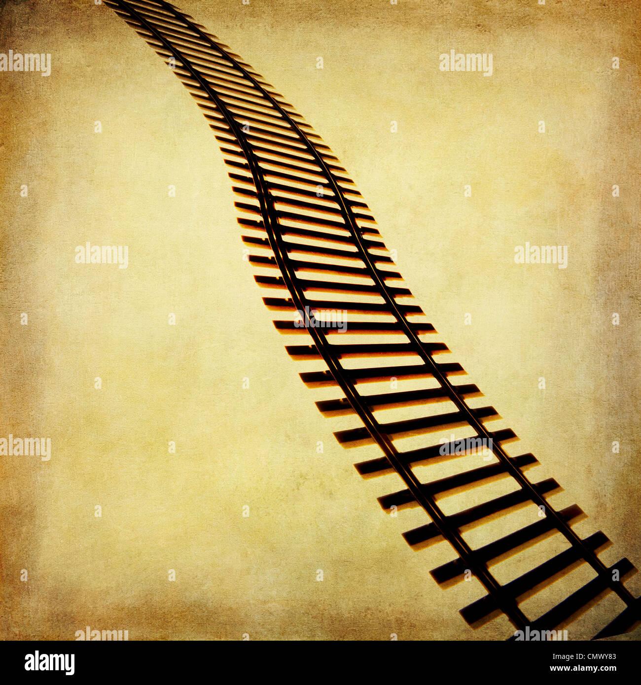 Railway track train tracks illustration. - Stock Image