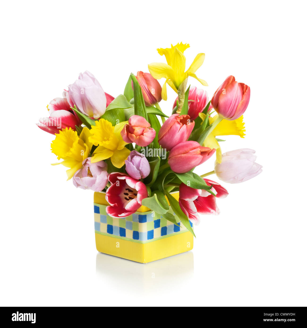 Yellow Flower Pot With Tulips And Daffodils On White Background