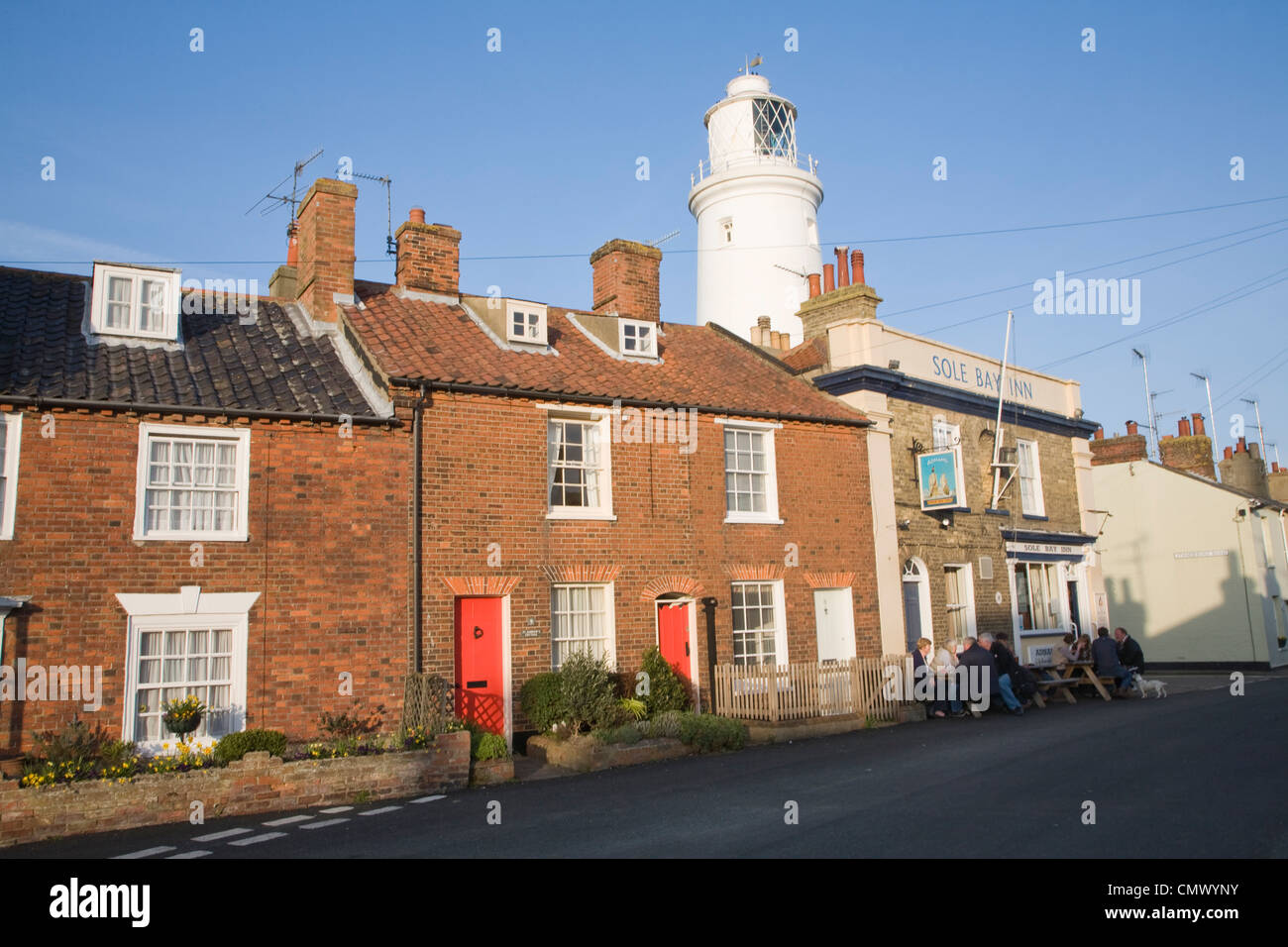 Cottages Lighthouse and Sole Bay Inn, Southwold, Suffolk, England - Stock Image