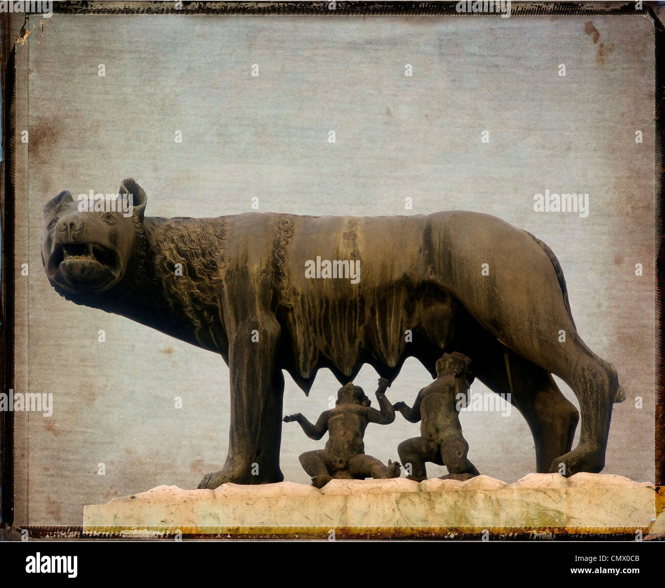 Sculpture of the she-wolf with Romulus and Remus, vintage look art image - Stock Image