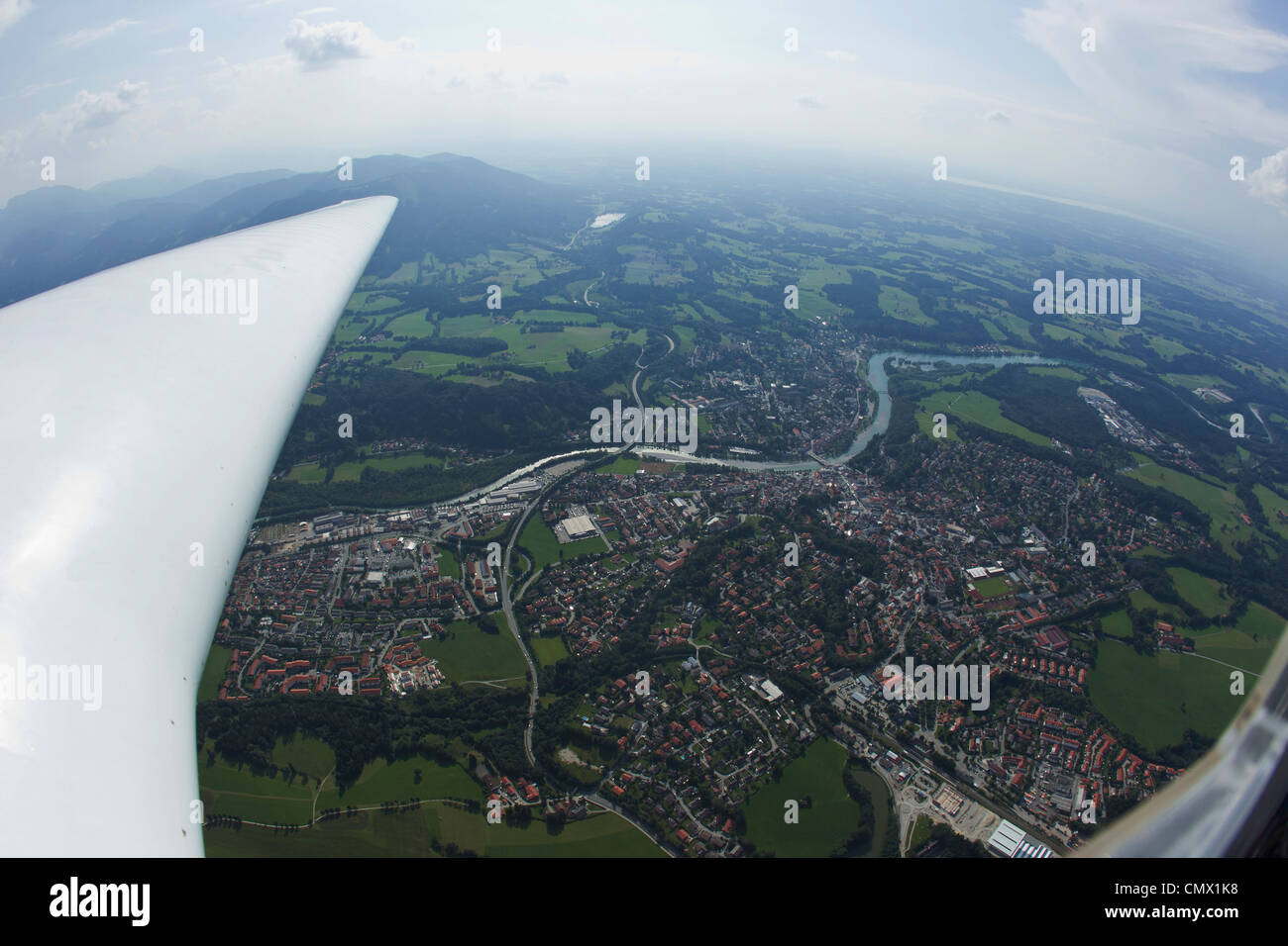 Germany, Bavaria, Bad Toelz, View of village from glider - Stock Image