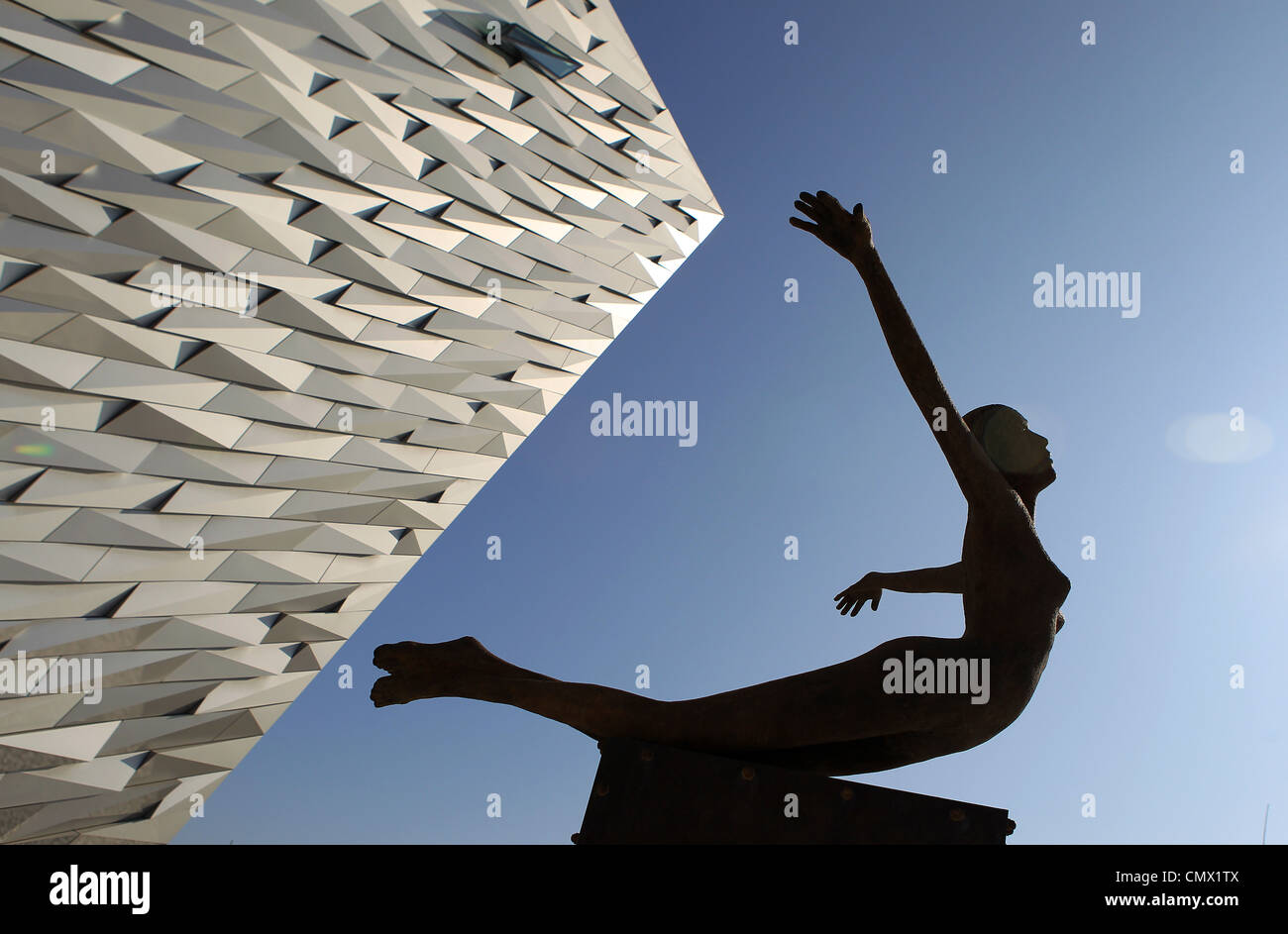 A sculpture entitled 'Titancia' marks the entrance to the Titanic Belfast visitors centre in Belfast - Stock Image