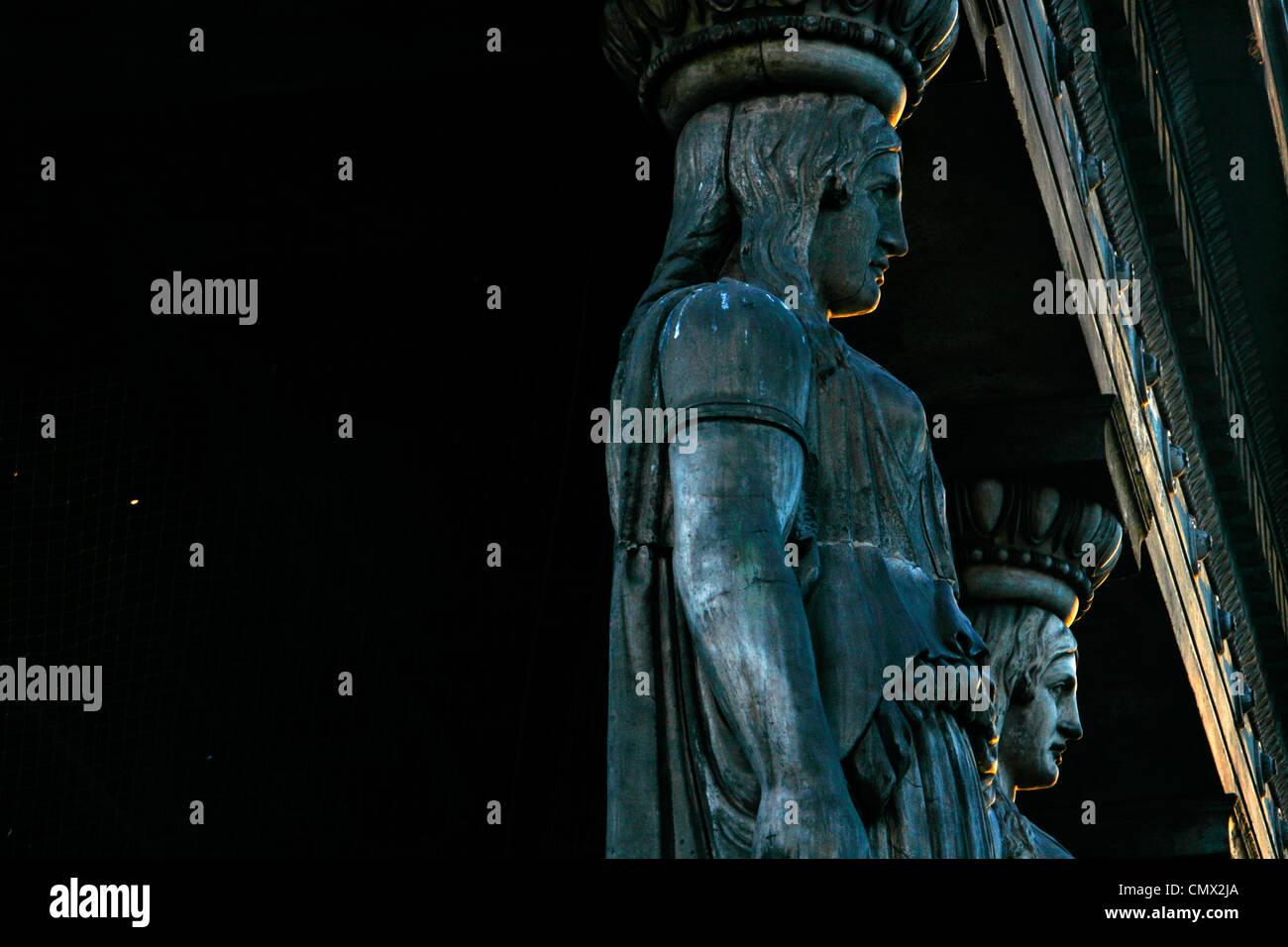 Caryatid column sculptures at St Pancras Parish church, St Pancras, London, UK - Stock Image