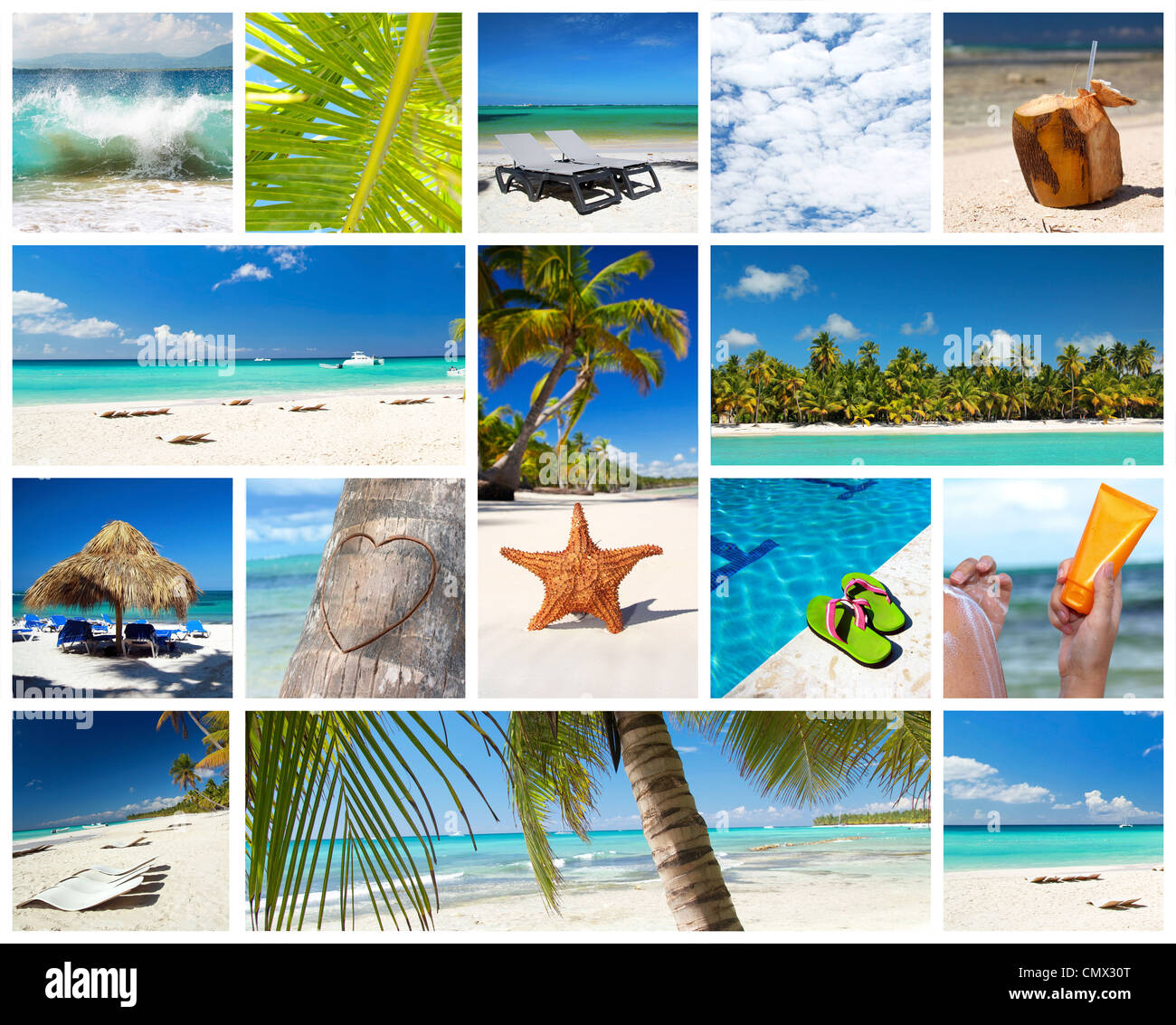 Caribbean collage with different parts of tropical landscape, Dominican Republic - Stock Image