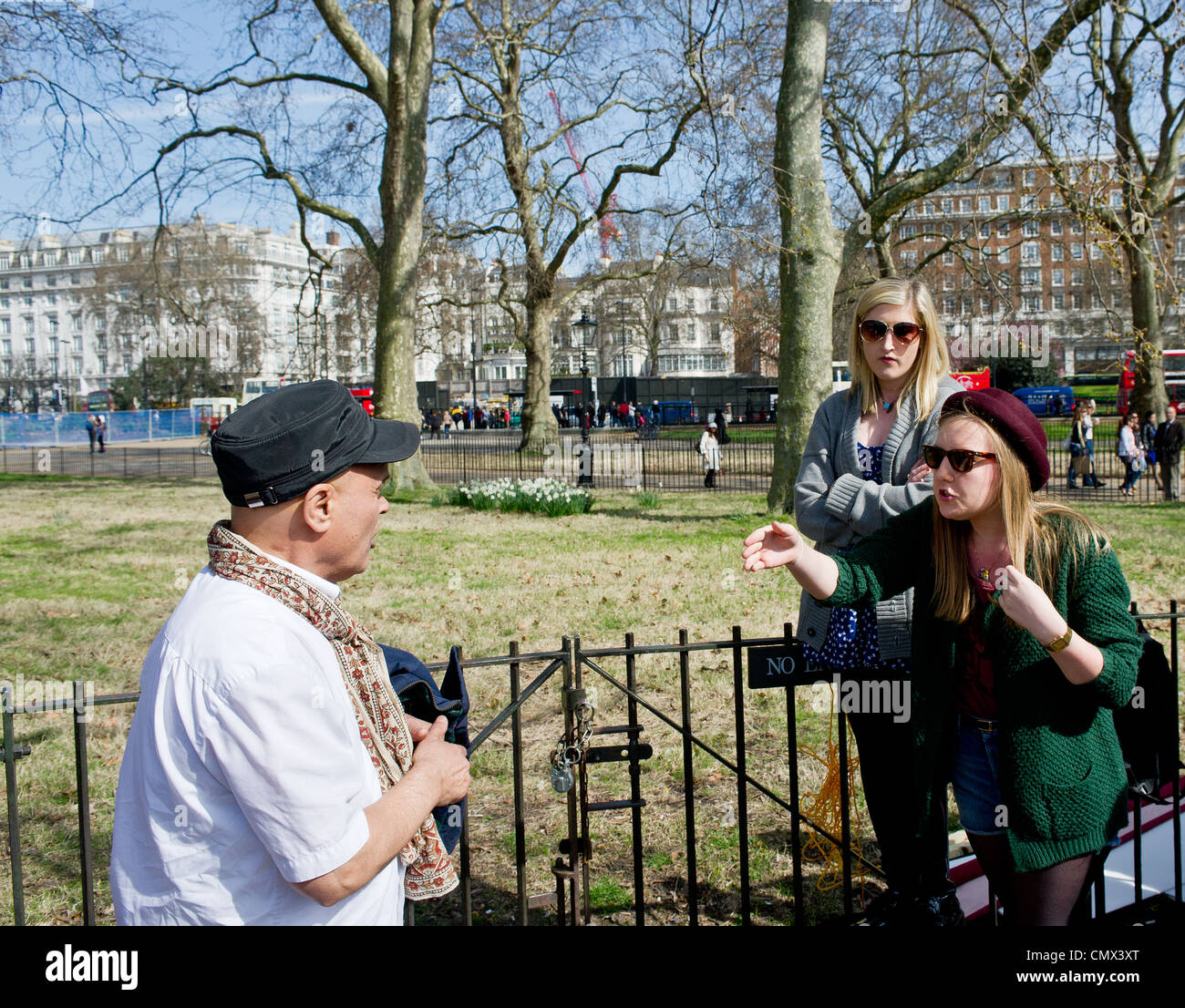 An argument at Speakers Corner in London. - Stock Image