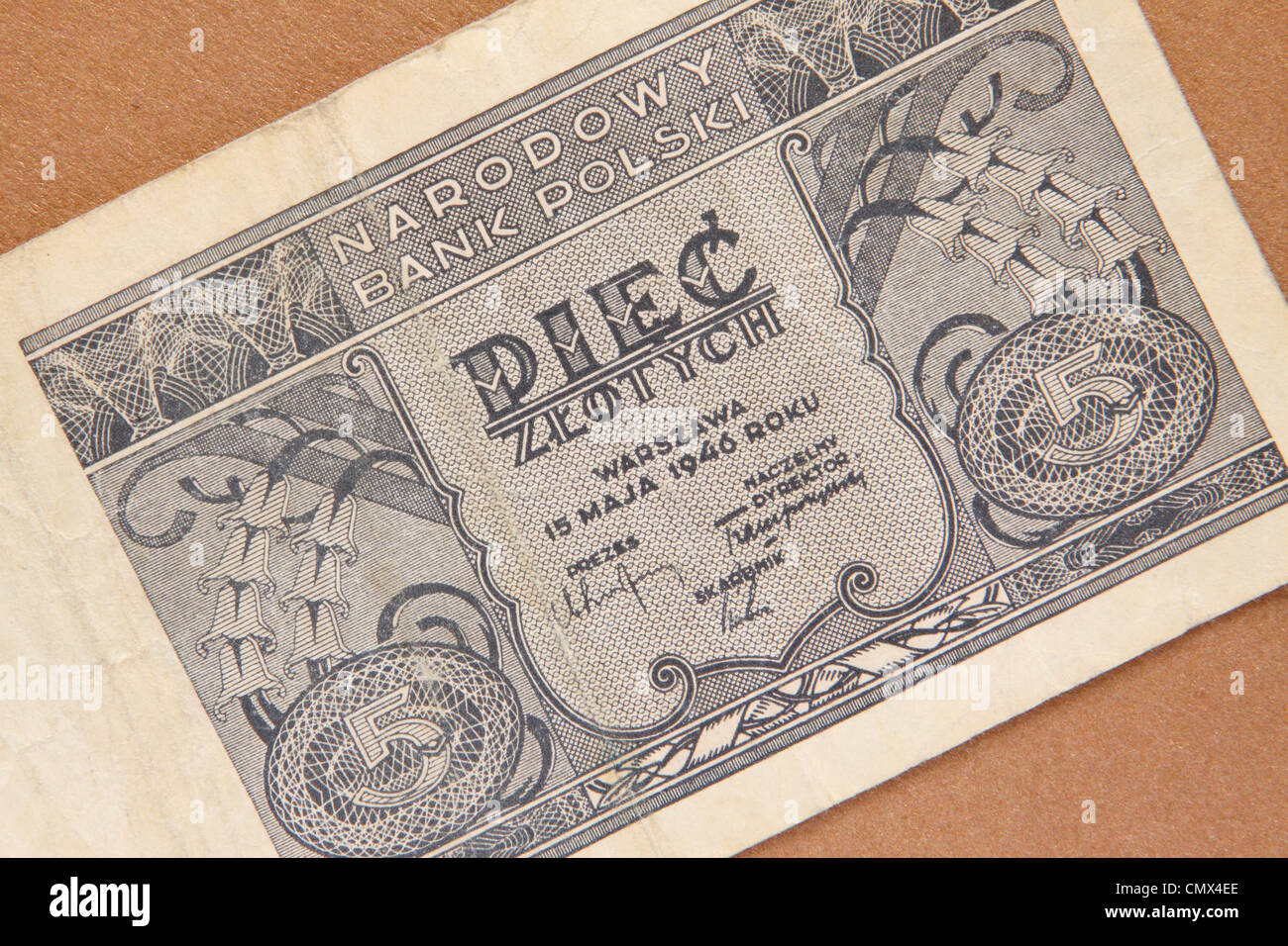 Poland Polish banknote 5 zloty dated 1946 issued by Narodowy Bank Polski just after WW2 - Stock Image