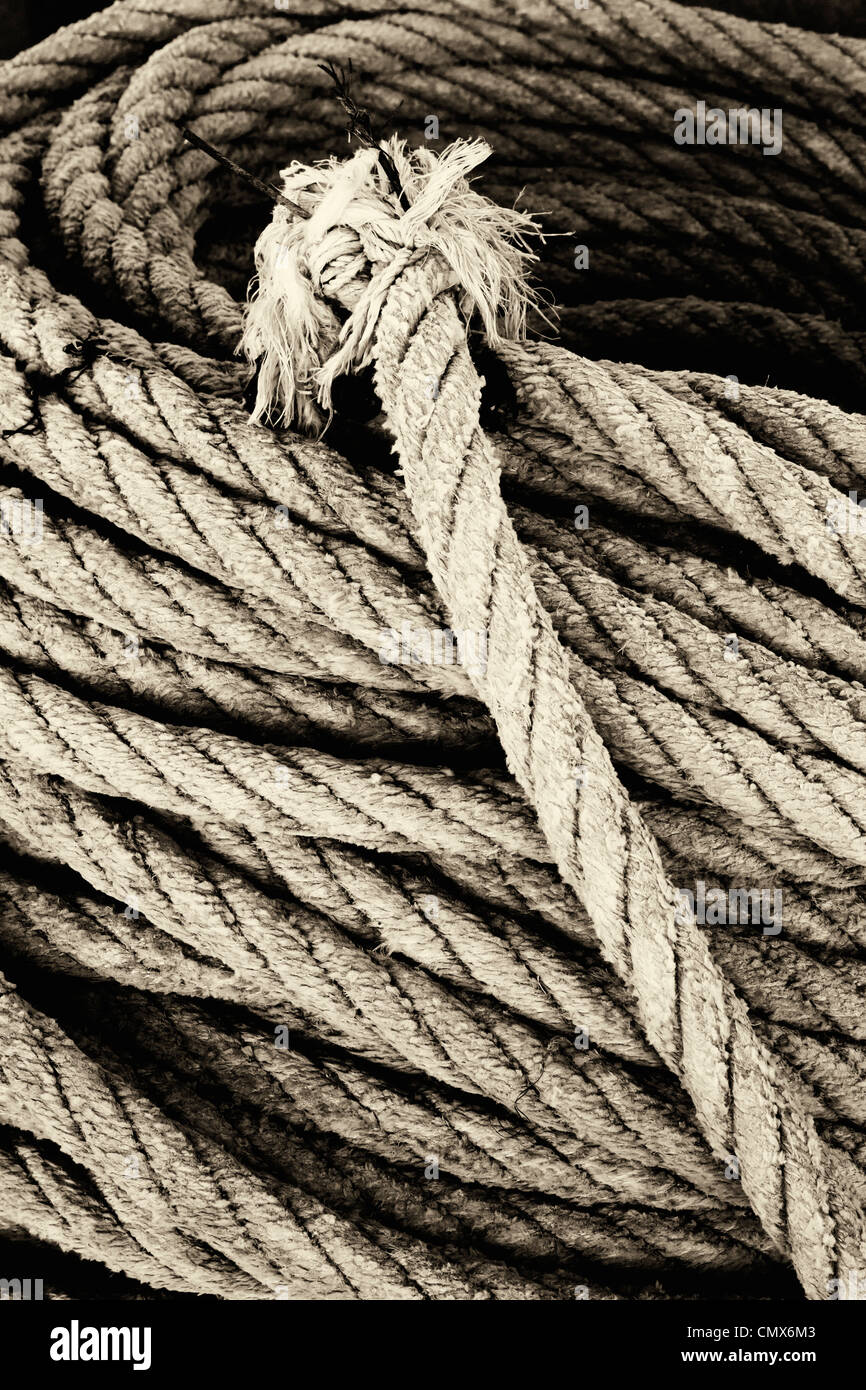 Coil of rope with ragged end. - Stock Image